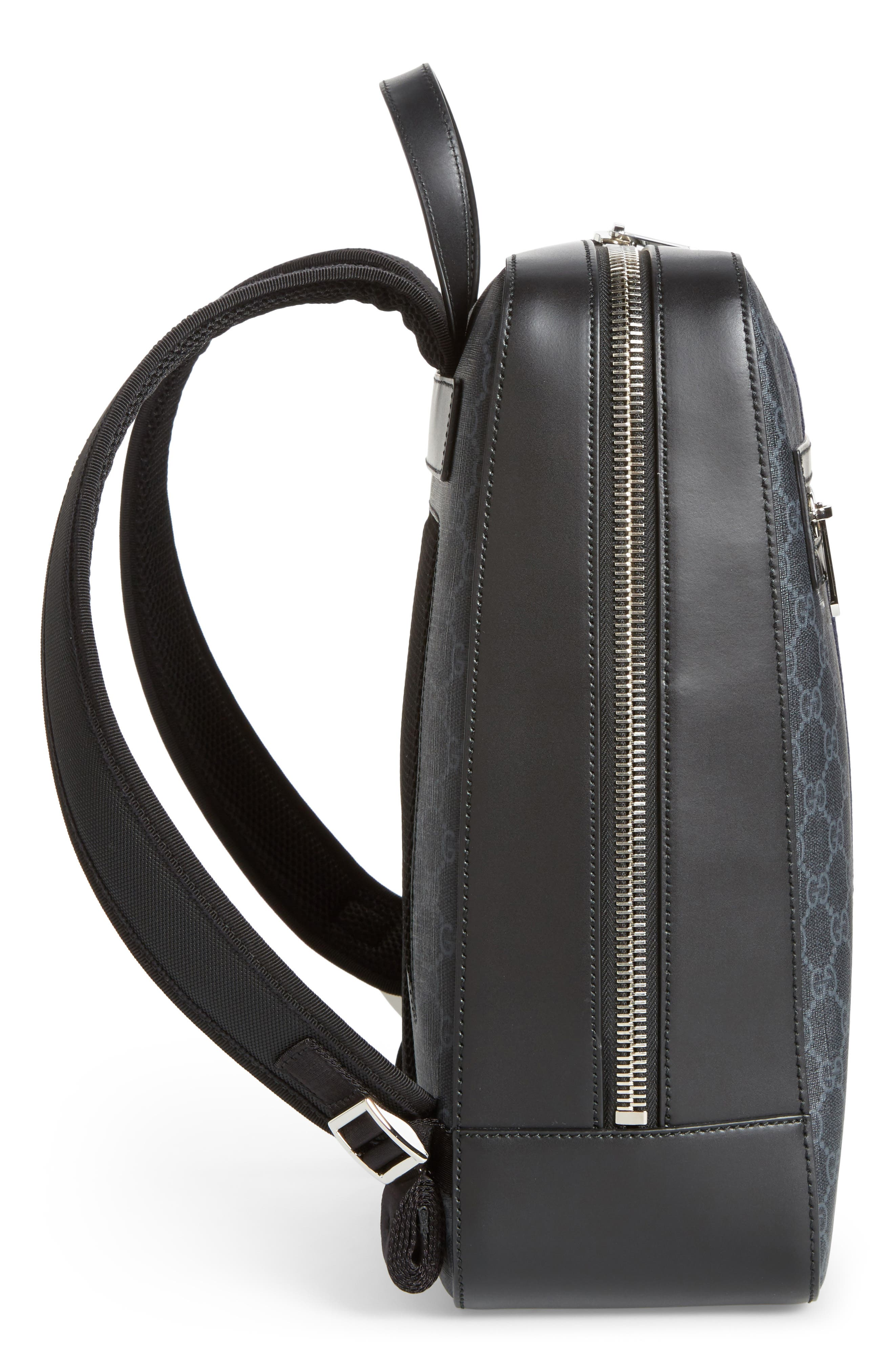 GG Leather Trim Backpack,                             Alternate thumbnail 5, color,                             Black
