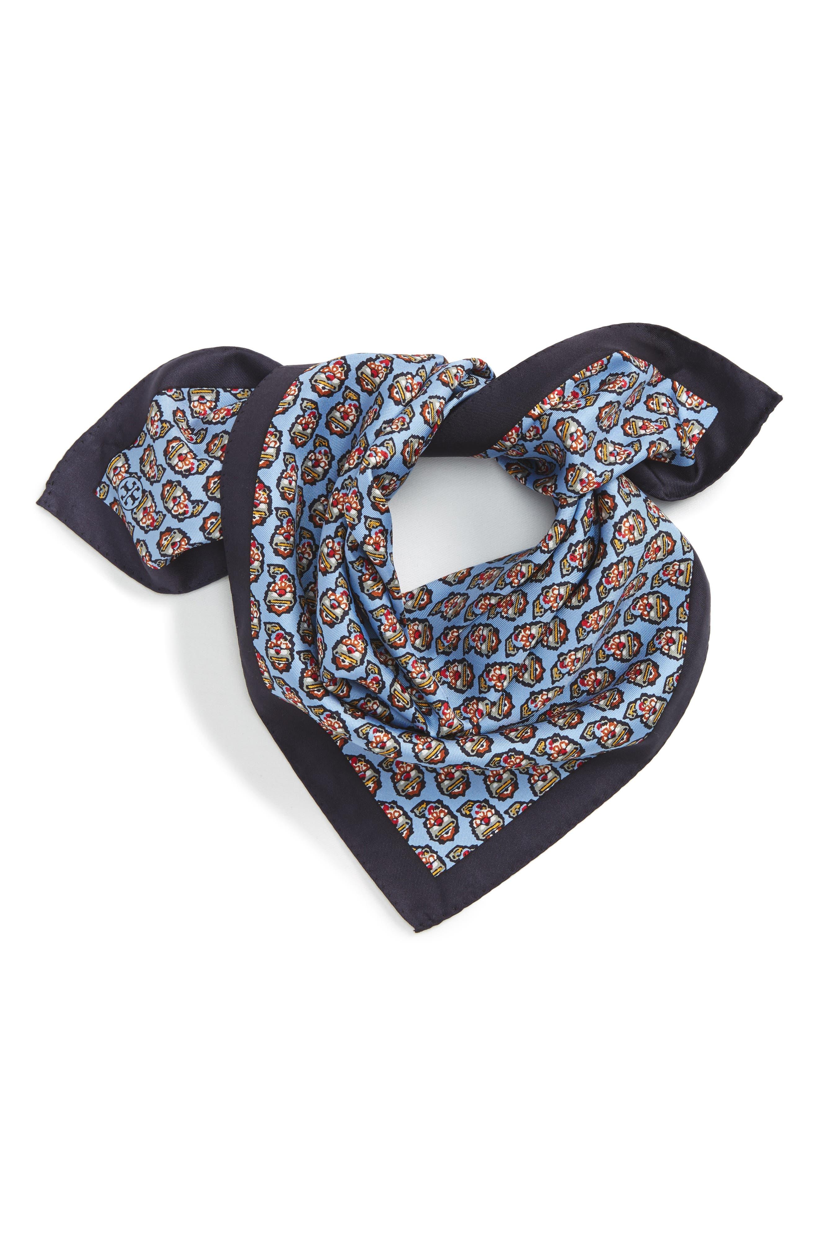 Paisley Silk Scarf,                         Main,                         color, Himalaya Blue