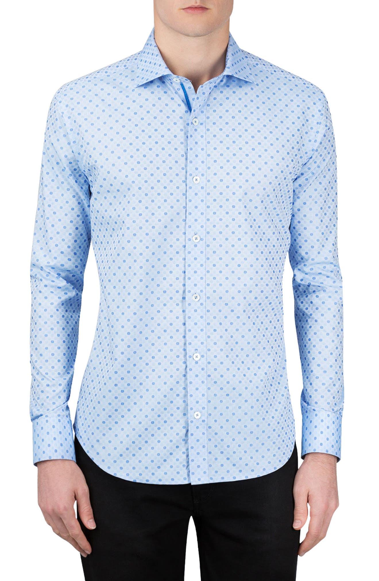 Alternate Image 2  - Bugatchi Shaped Fit Dot Sport Shirt