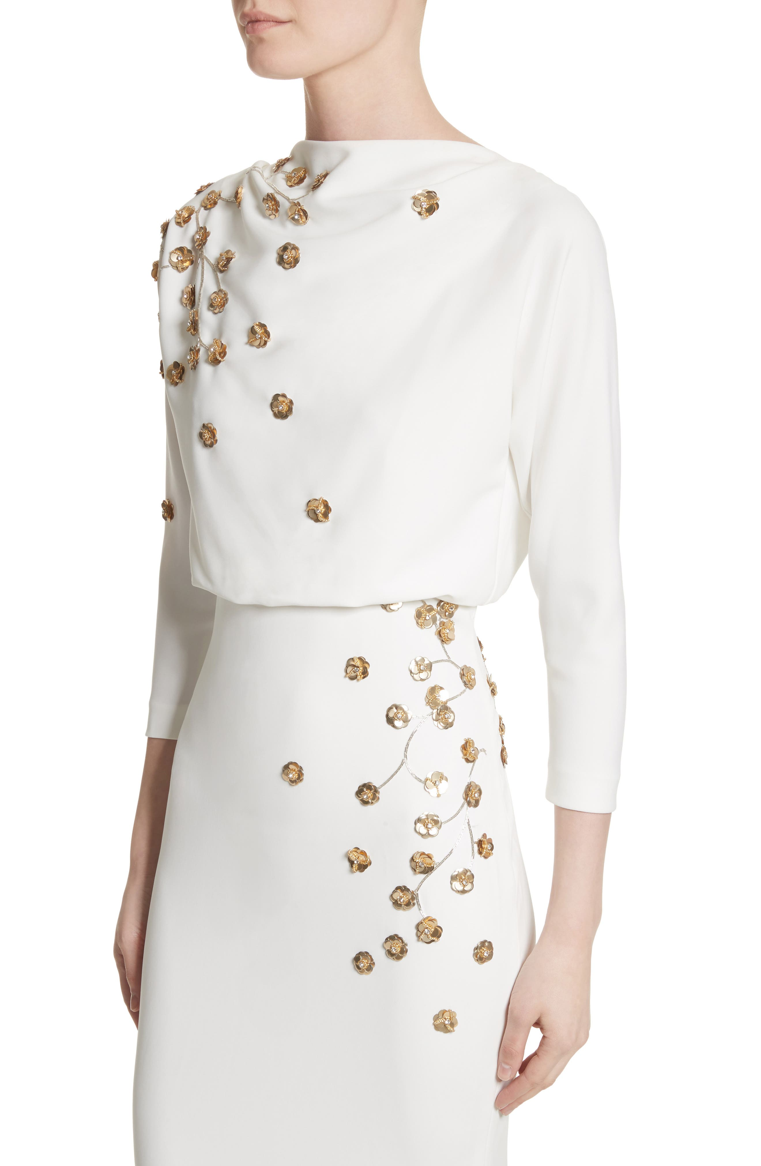 Badgley Mischka Couture Floral Embellished Crepe Gown,                             Alternate thumbnail 5, color,                             Light Ivory