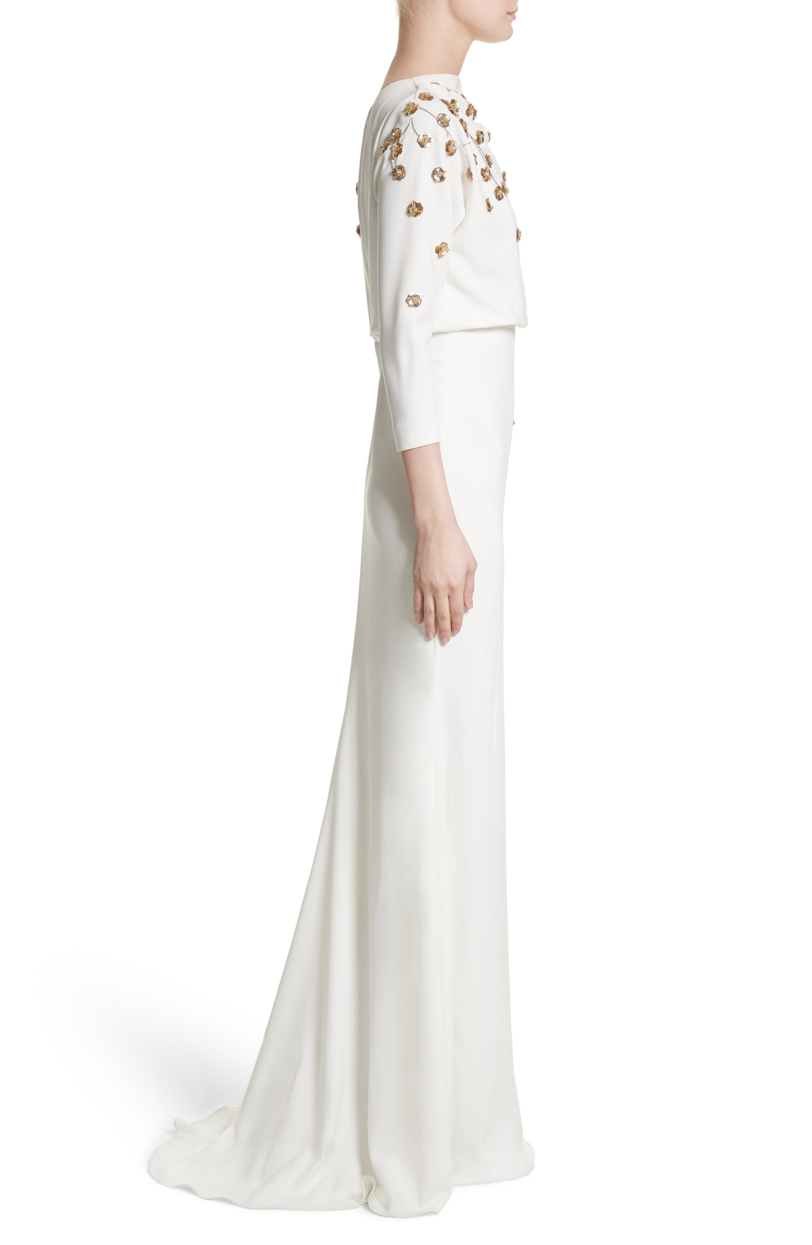 Badgley Mischka Couture Floral Embellished Crepe Gown,                             Alternate thumbnail 4, color,                             Light Ivory