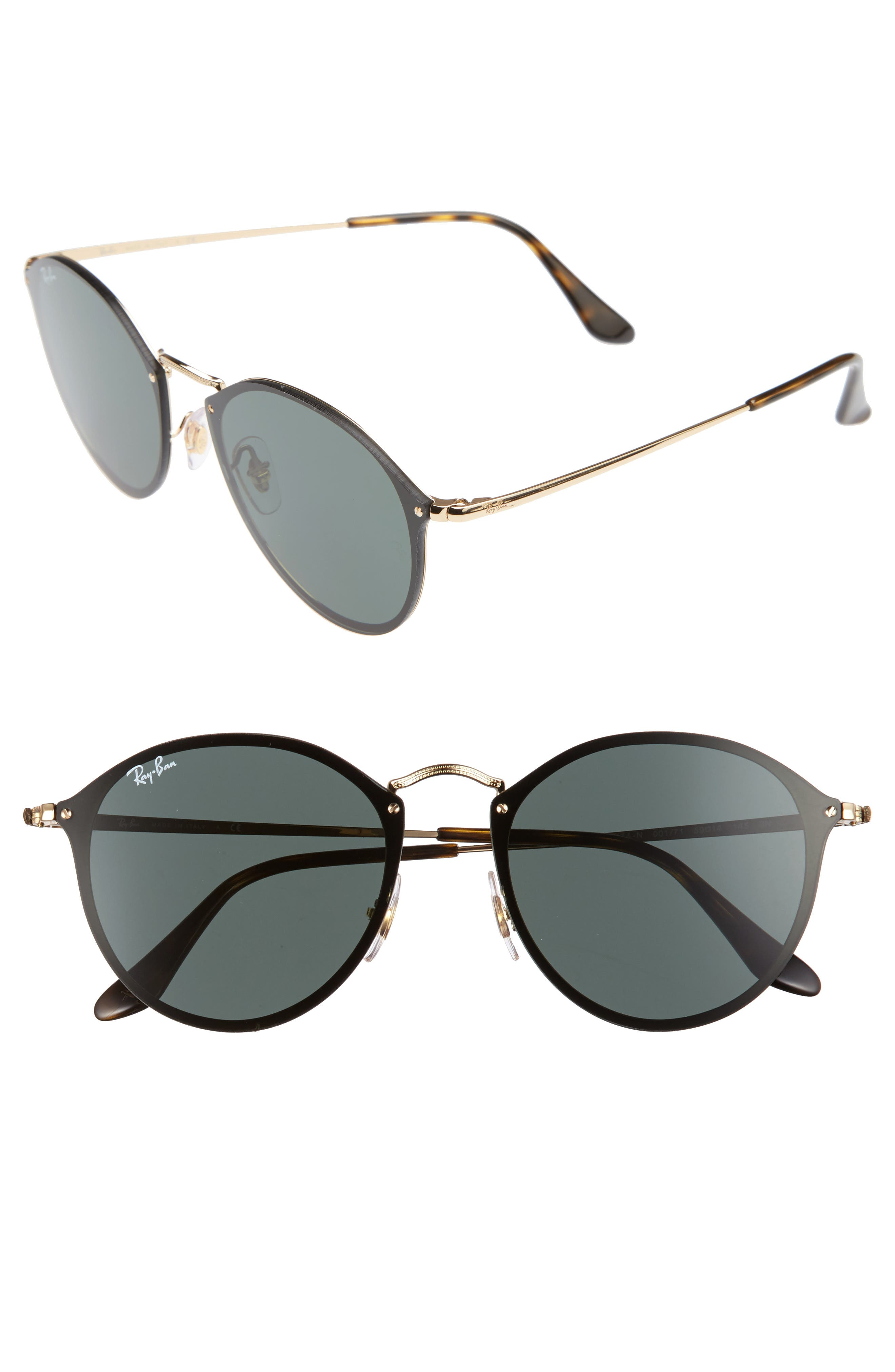 Blaze 59mm Round Sunglasses,                         Main,                         color, Gold/ Green