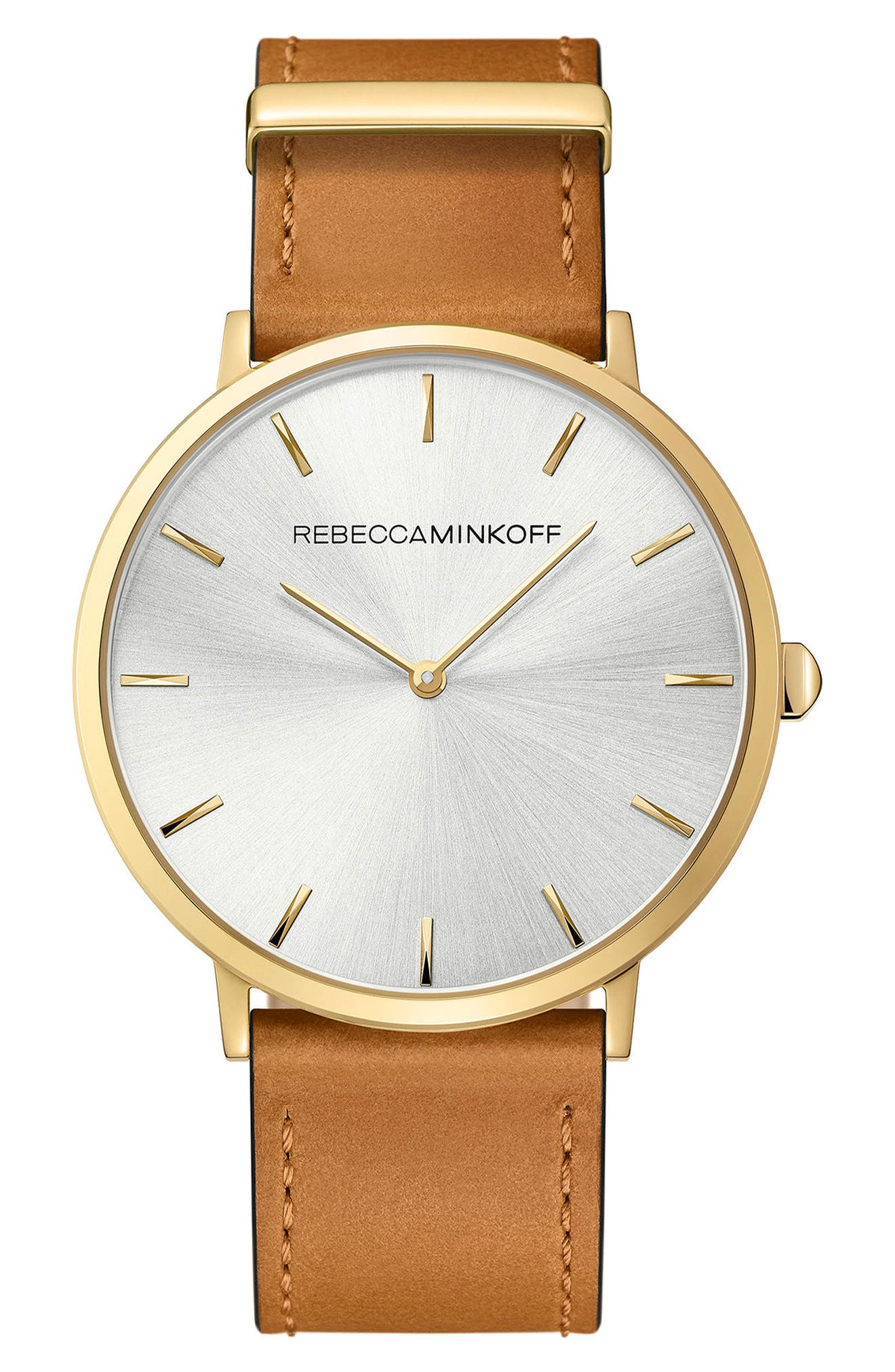 Main Image - Rebecca Minkoff Major Leather Strap Watch, 40mm