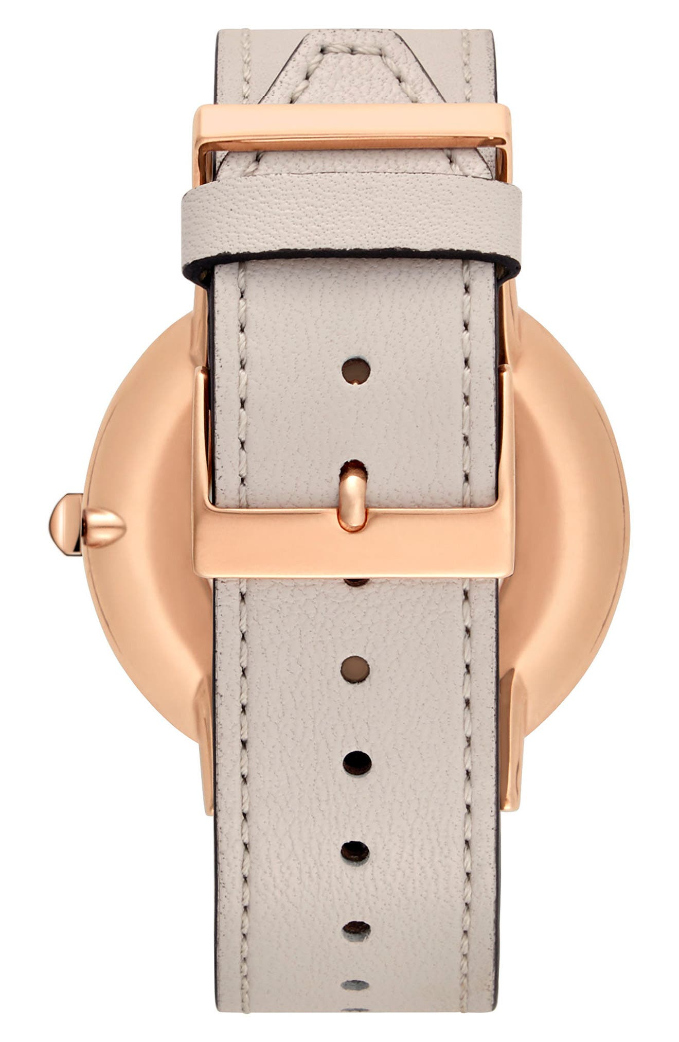 Major Leather Strap Watch, 40mm,                             Alternate thumbnail 3, color,                             Grey/ Silver White/ Rose Gold