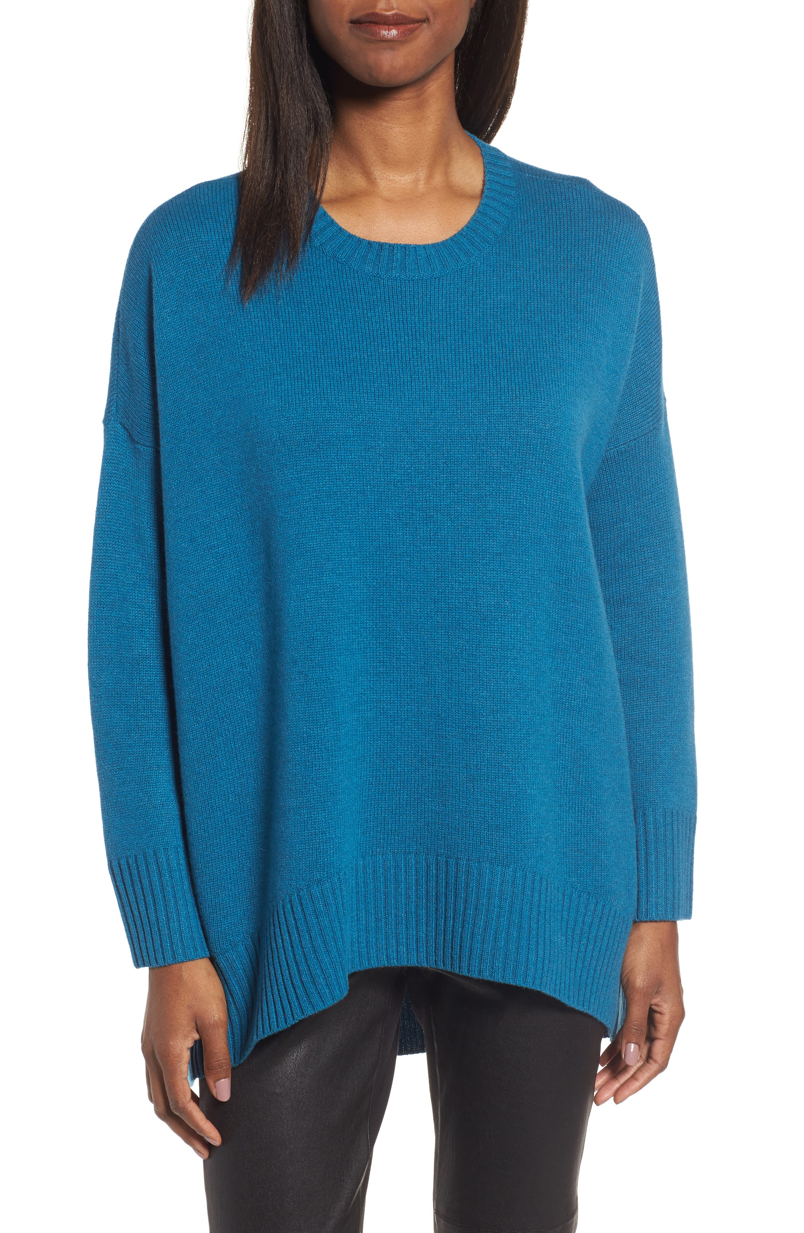 Cashmere & Wool Blend Oversize Sweater,                         Main,                         color, Nile