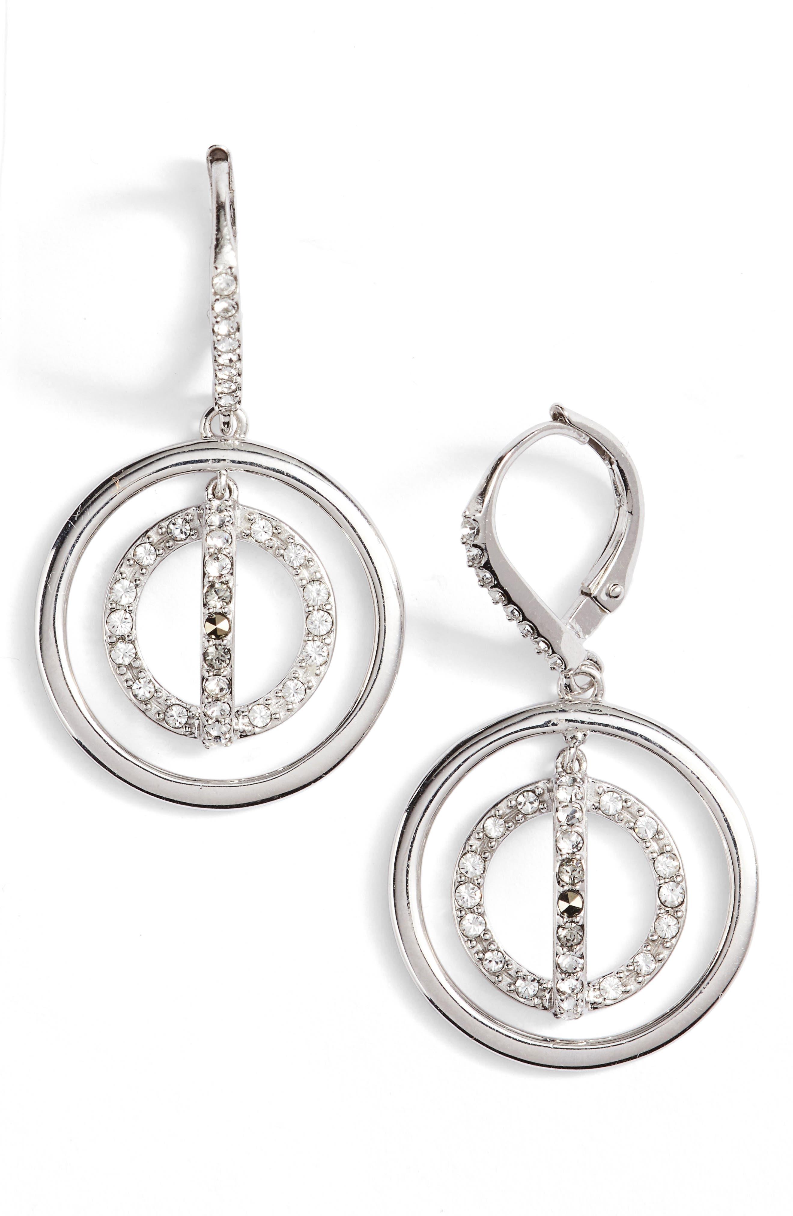 JUDITH JACK Sparkle Silver Crystal Drop Earrings