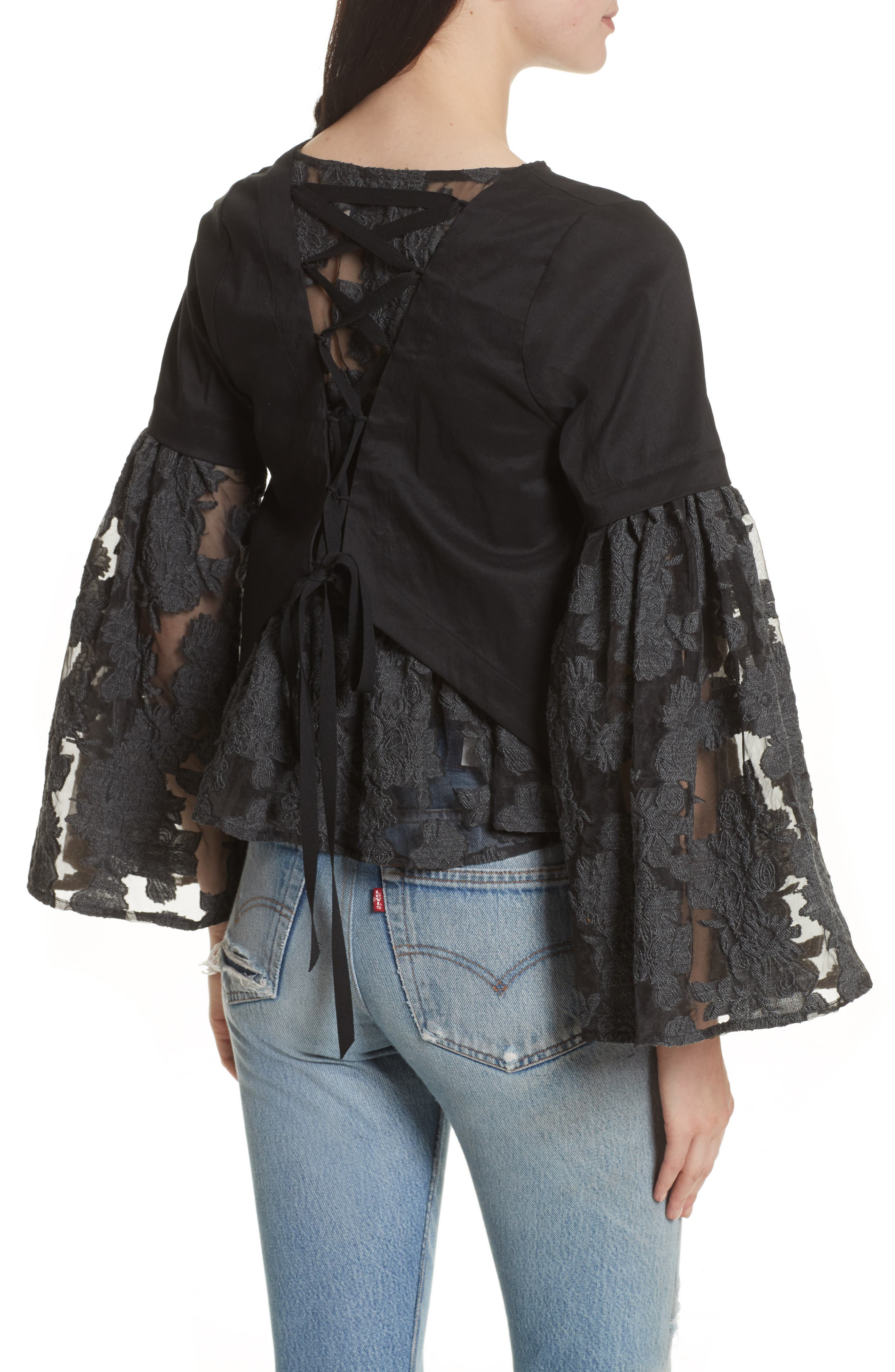 Alternate Image 2  - Sea Lace Lace-Up Back Bell Sleeve Blouse