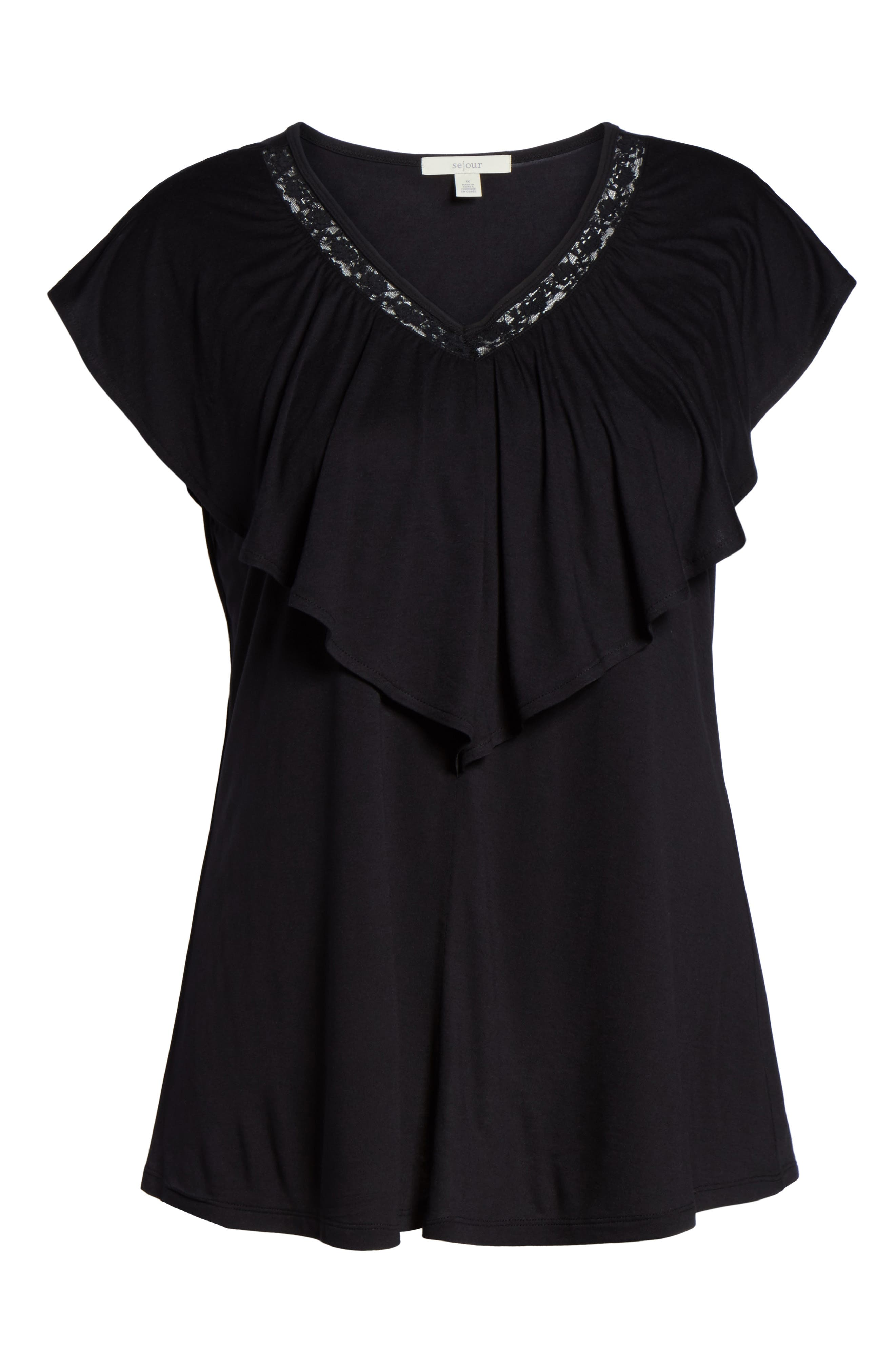 Alternate Image 6  - Sejour Lace Trim Ruffle Tee (Plus Size)