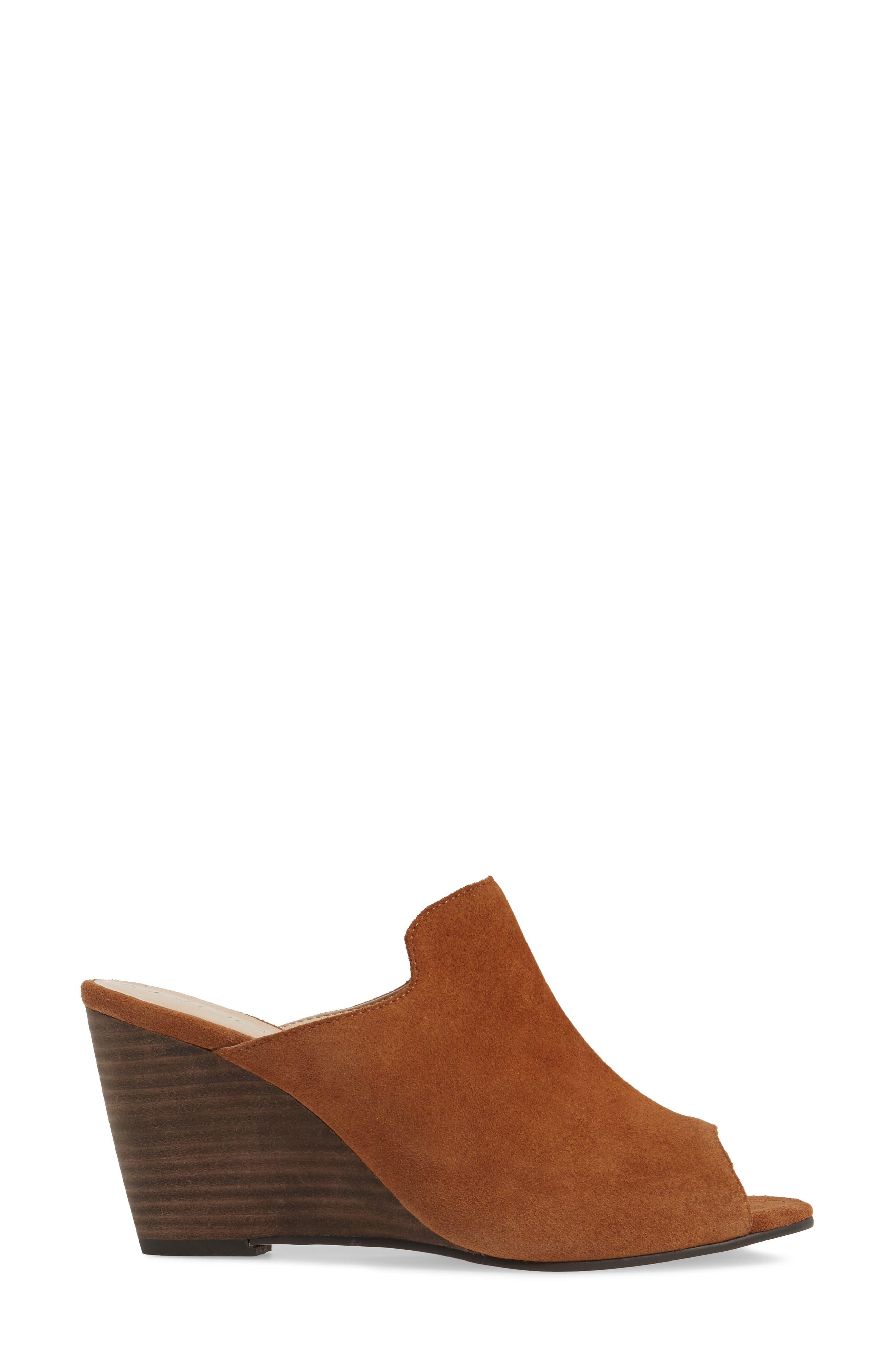 Drew Open-Toe Wedge Mule,                             Alternate thumbnail 3, color,                             Cognac Suede