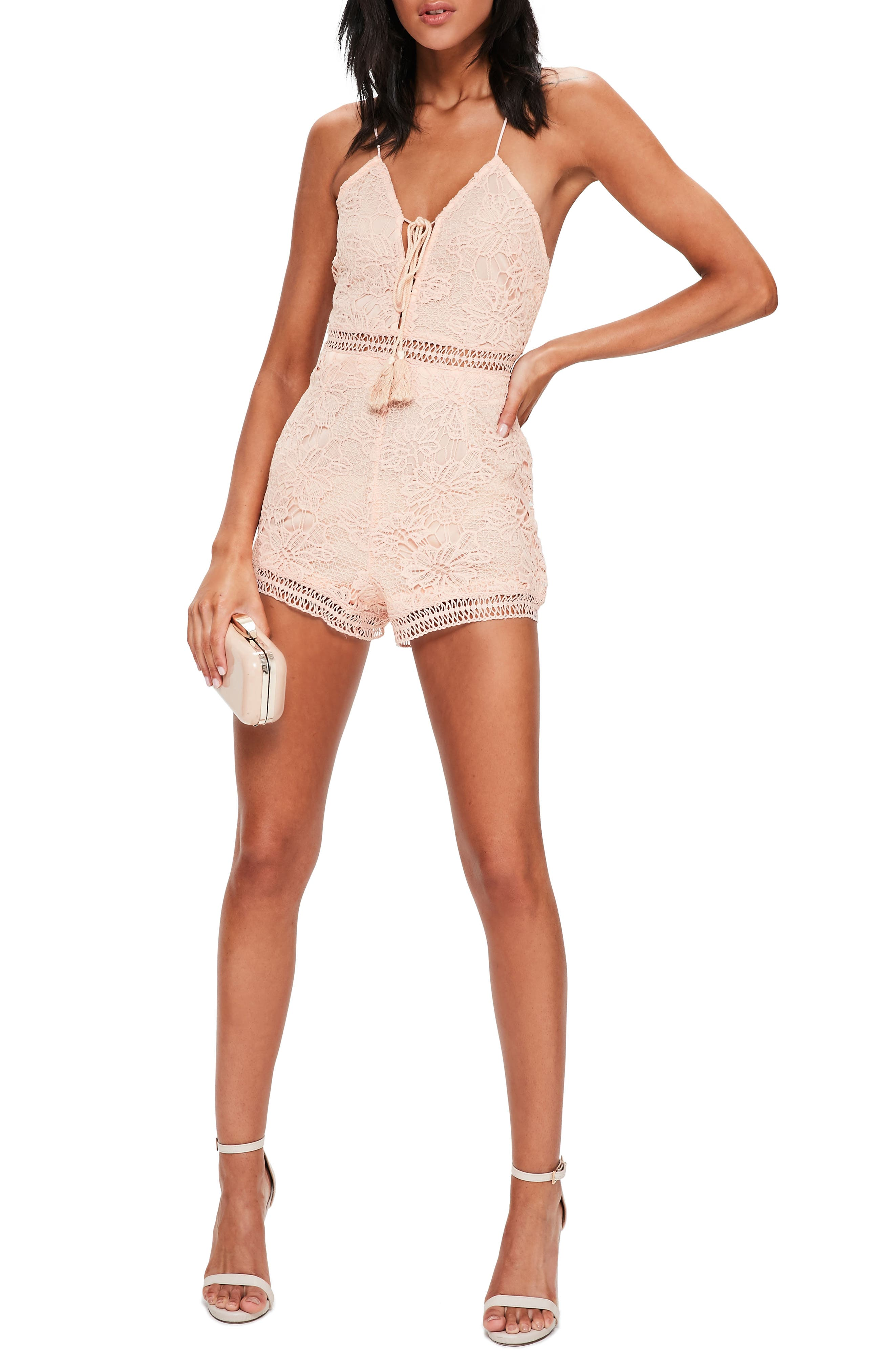 Lace Up Romper,                         Main,                         color, Pink