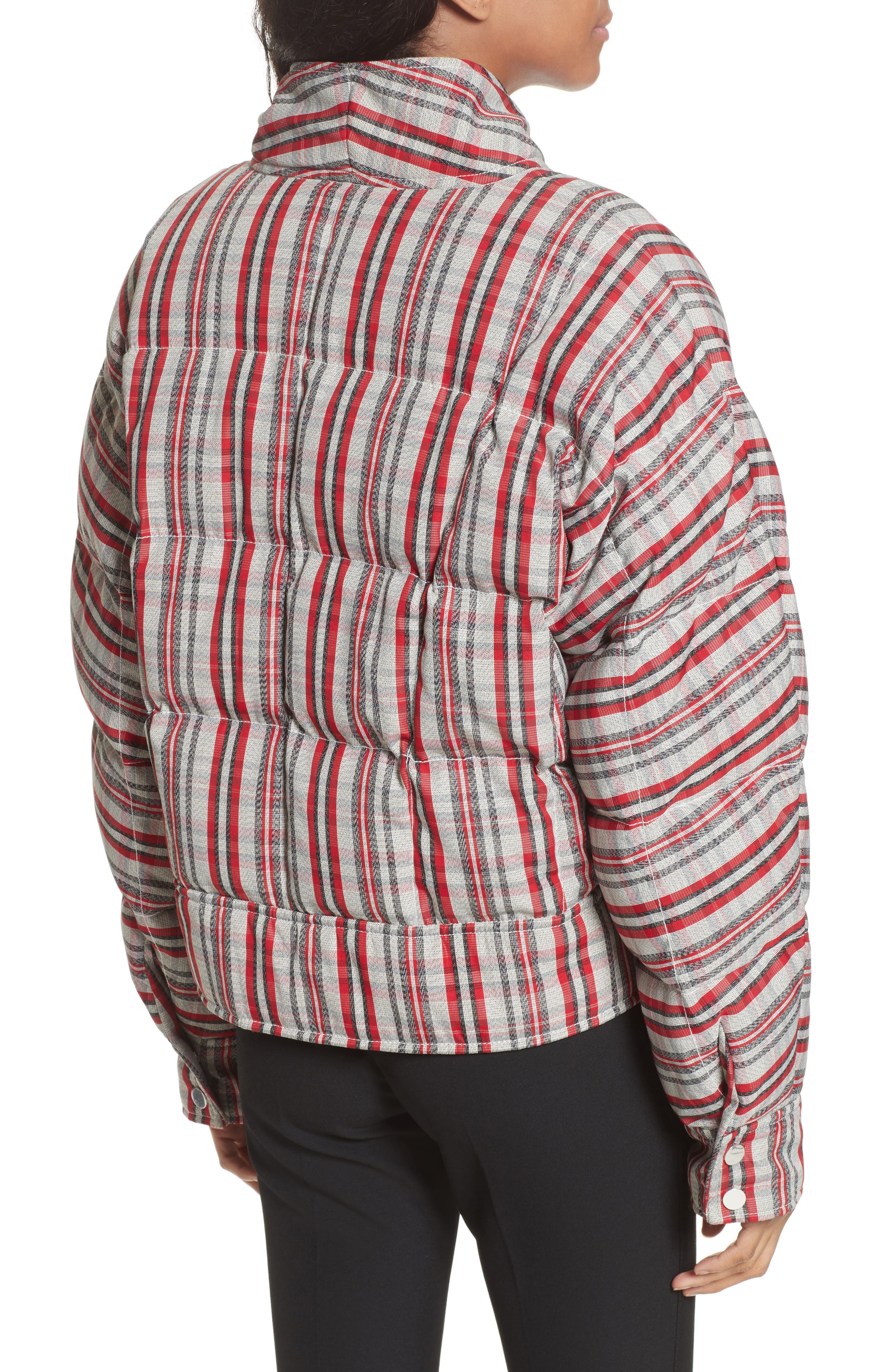 Plaid Snap Front Down Bomber,                             Alternate thumbnail 2, color,                             White/ Bright Red/ Black