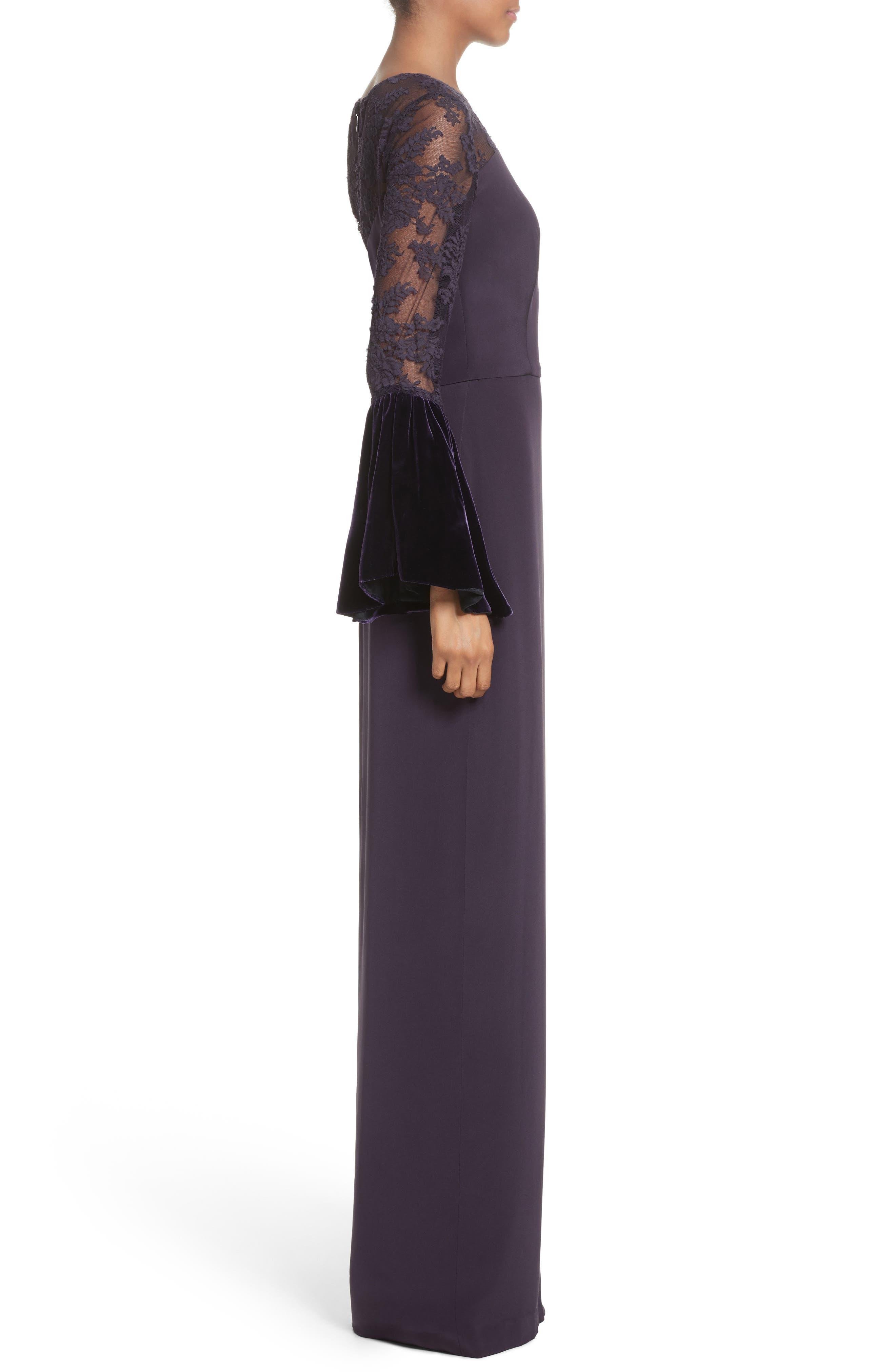 Lace & Velvet Trim Crepe Gown,                             Alternate thumbnail 3, color,                             Aubergine