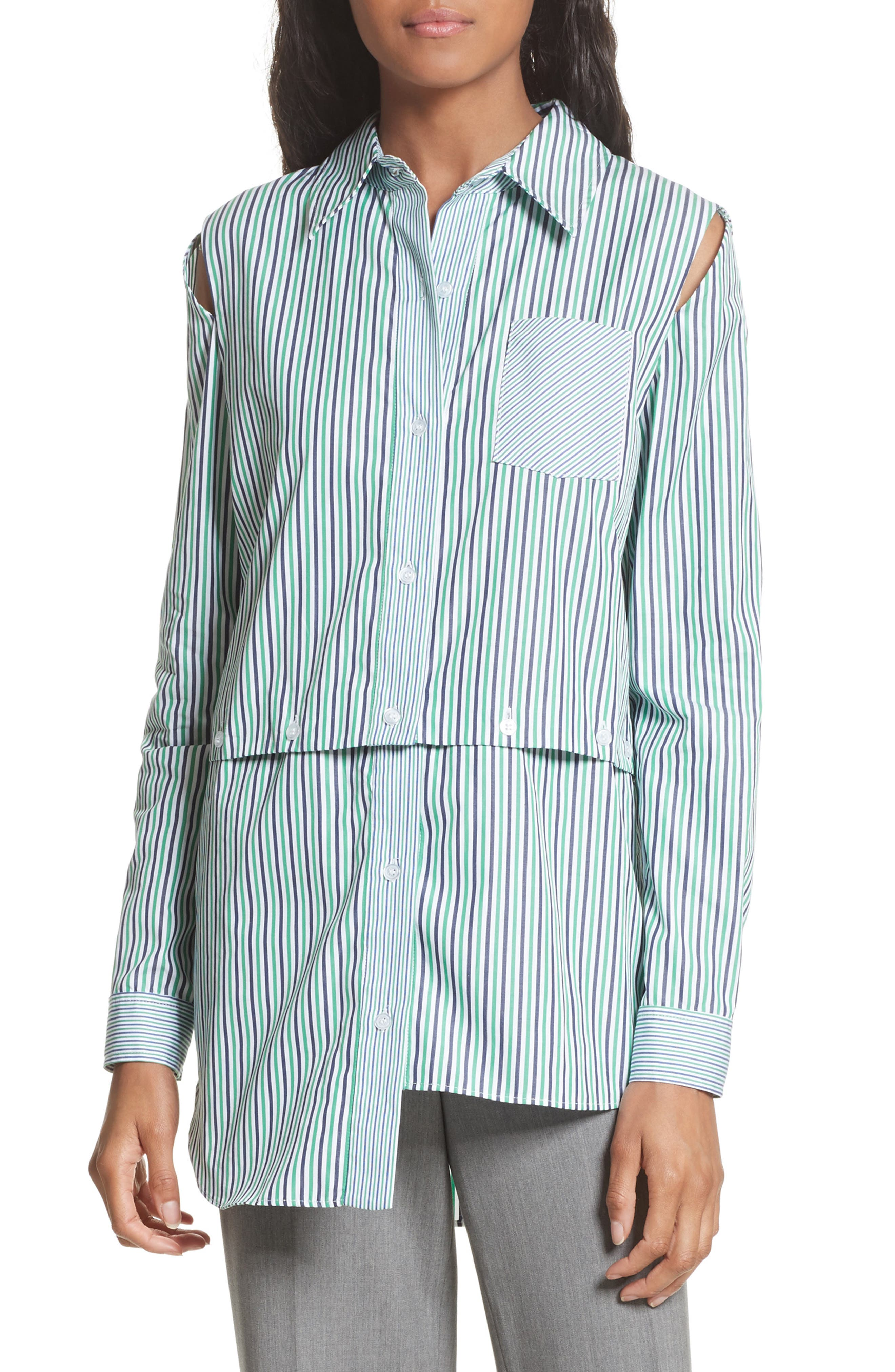 Fractured Stripe Shirt,                             Main thumbnail 1, color,                             Emerald