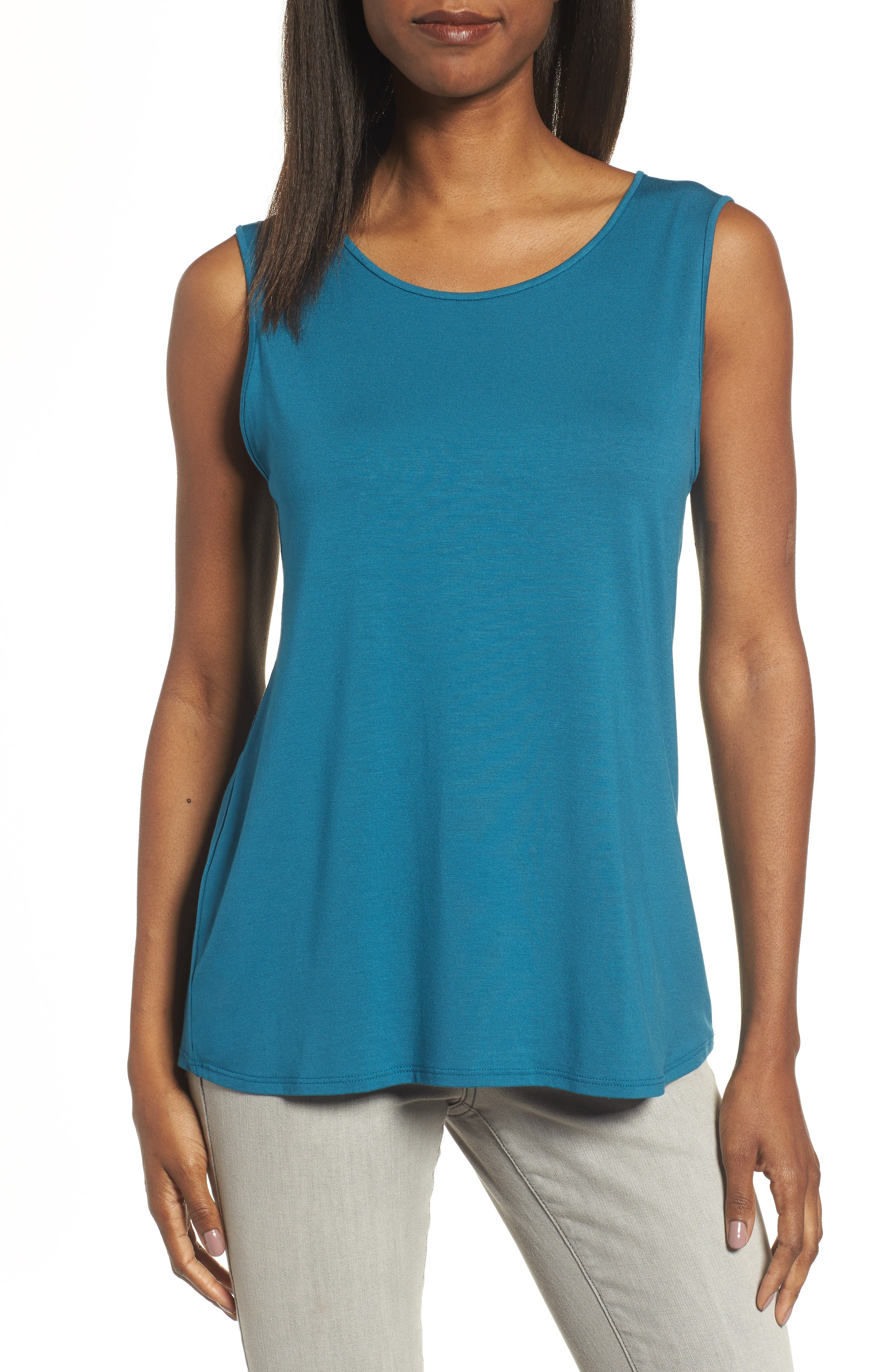 Lightweight Jersey Round Neck Tank,                         Main,                         color, Nile