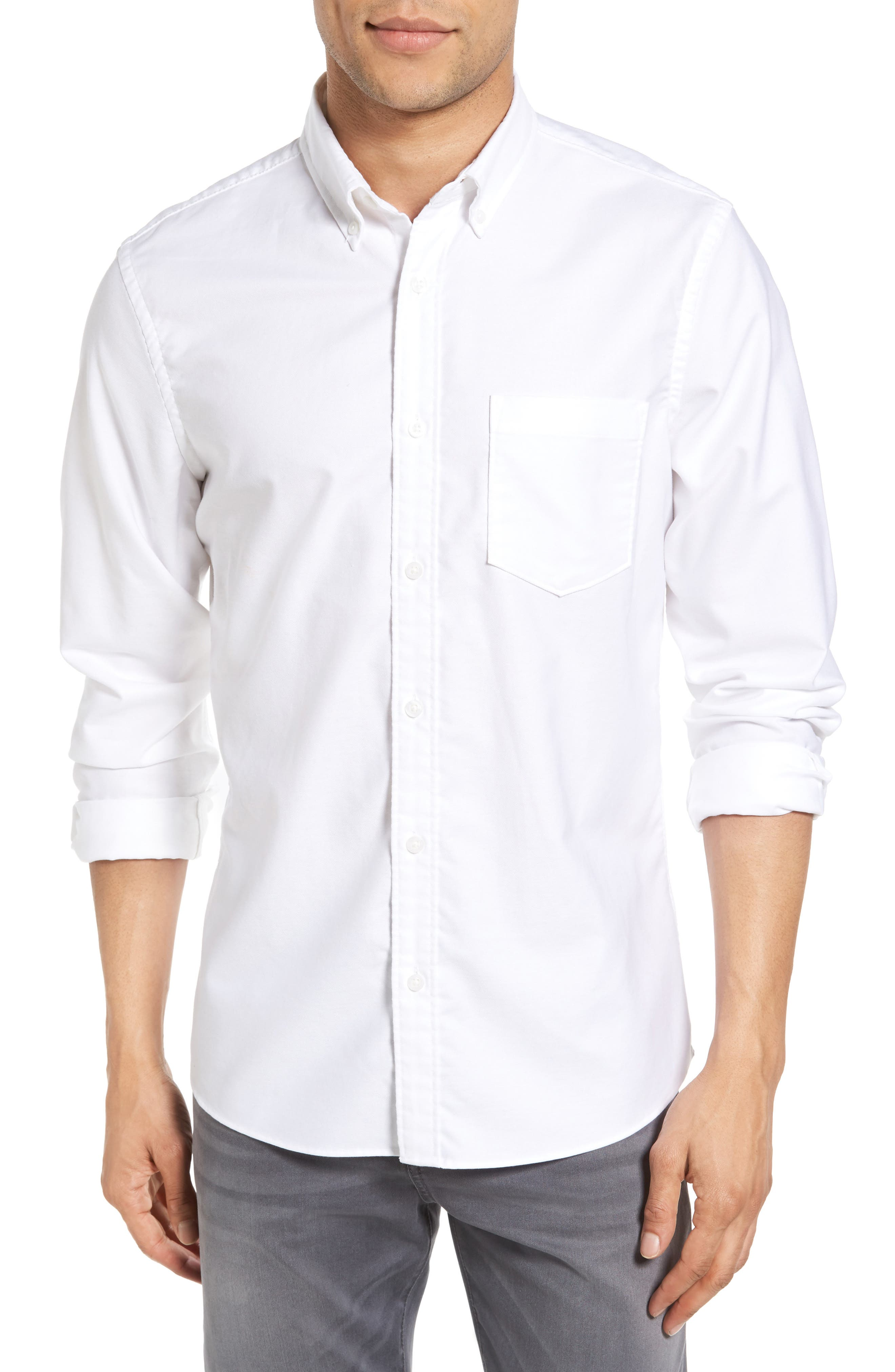 Trim Fit Washed Oxford Shirt,                         Main,                         color, White Oxford