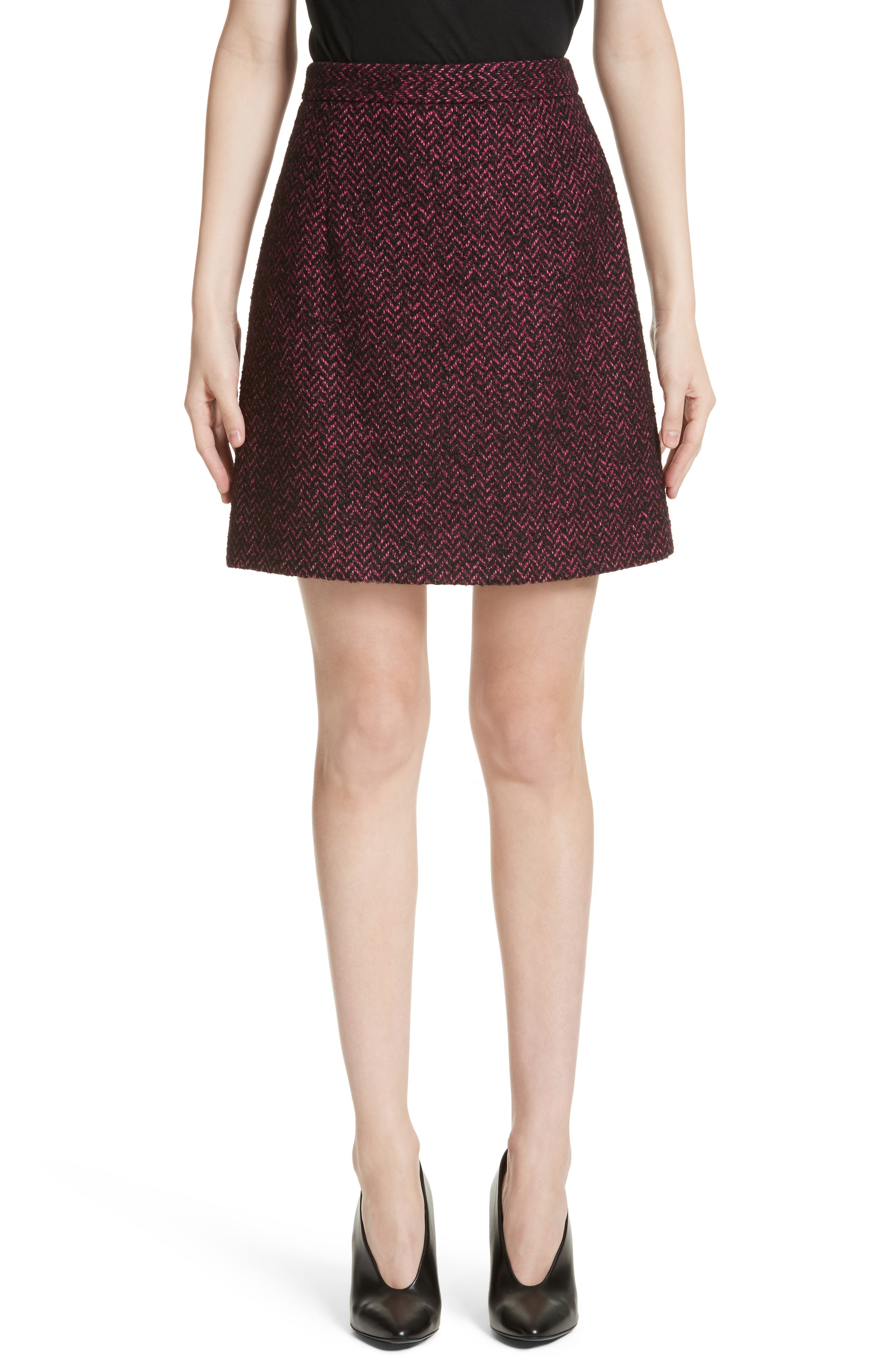 Michael Kors Herringbone Wool Blend A-Line Skirt