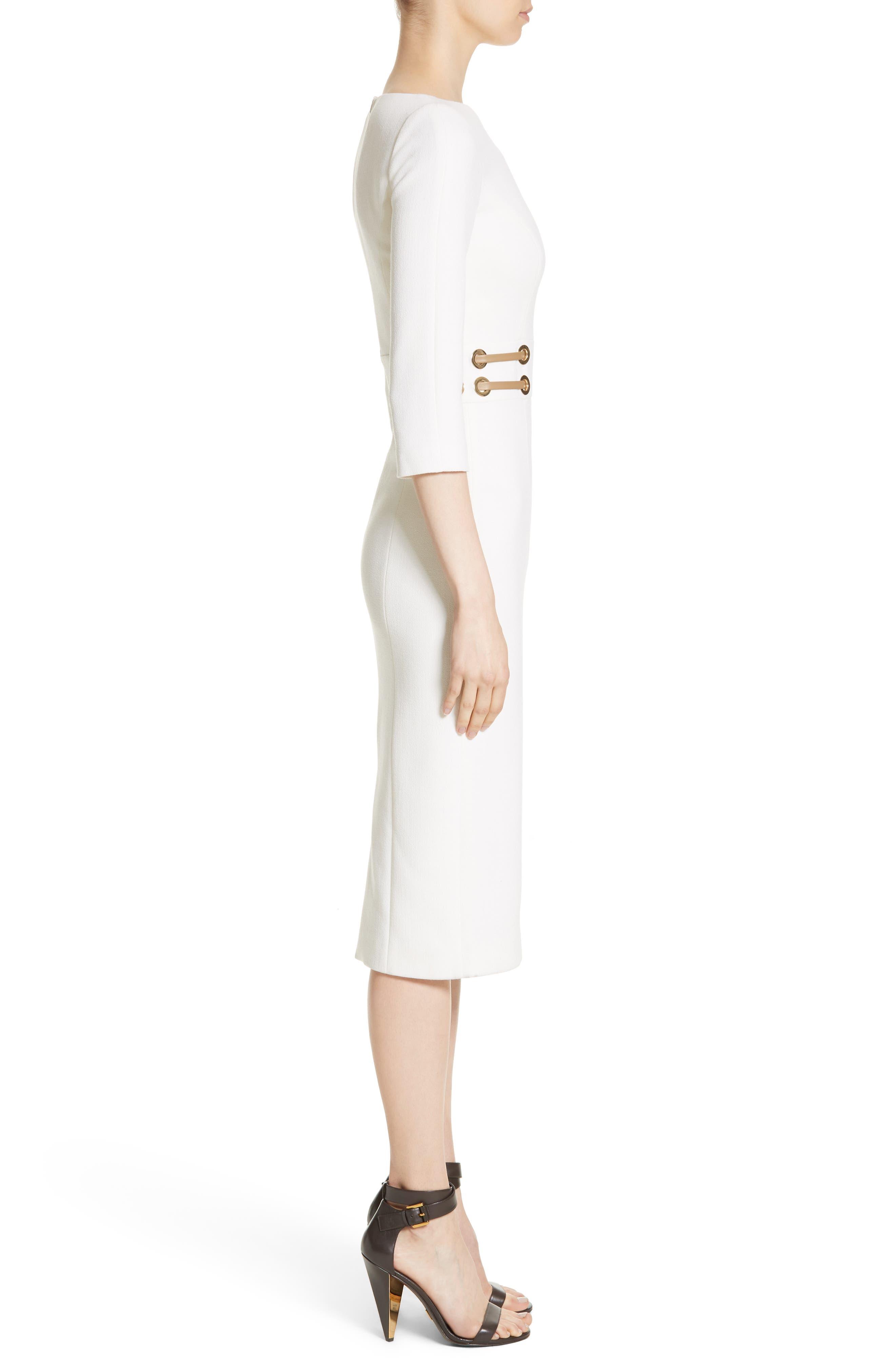 Alternate Image 3  - Michael Kors Leather Trim Stretch Bouclé Crepe Sheath Dress