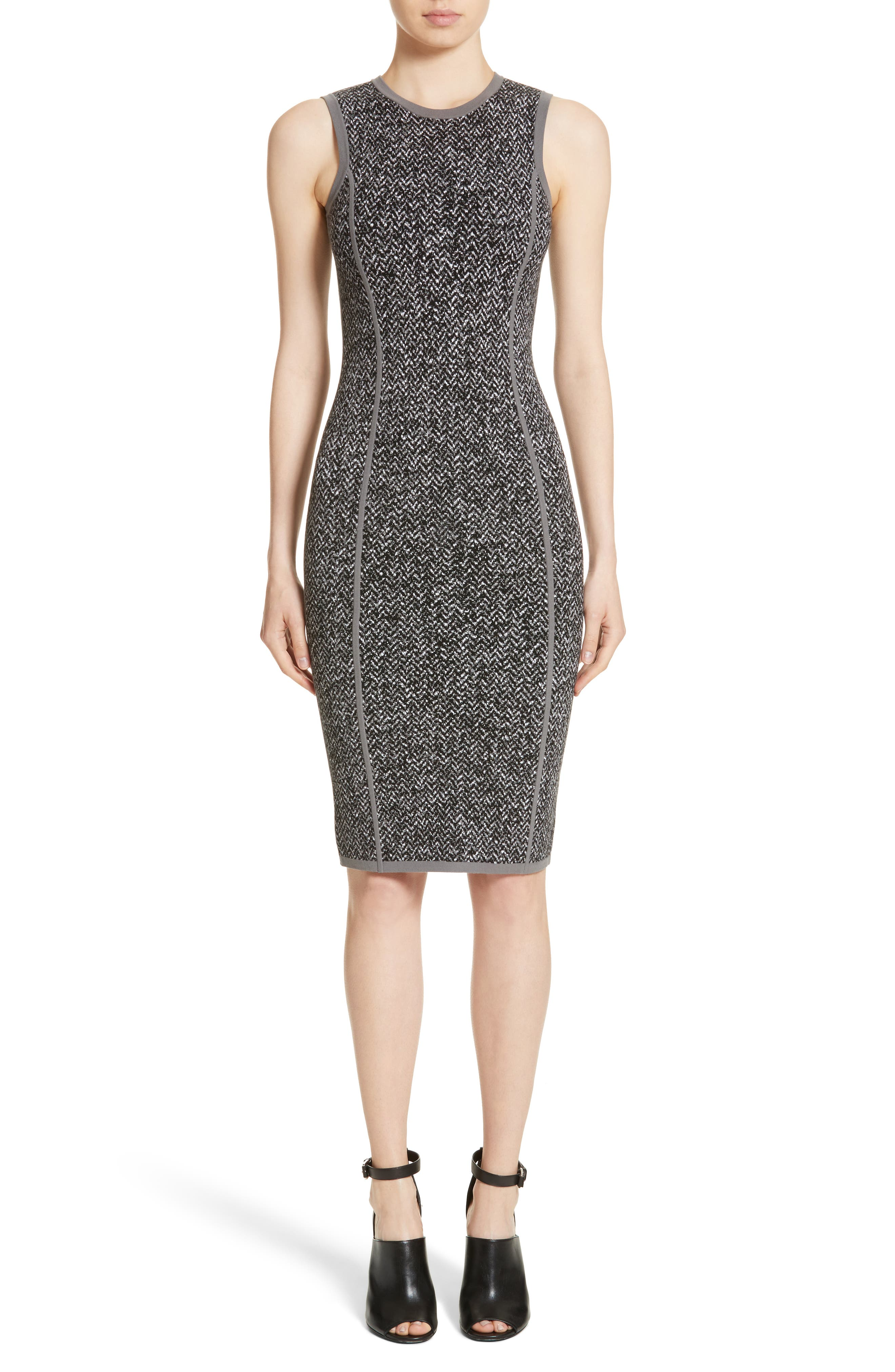 Main Image - Michael Kors Stretch Tweed Jacquard Sheath Dress