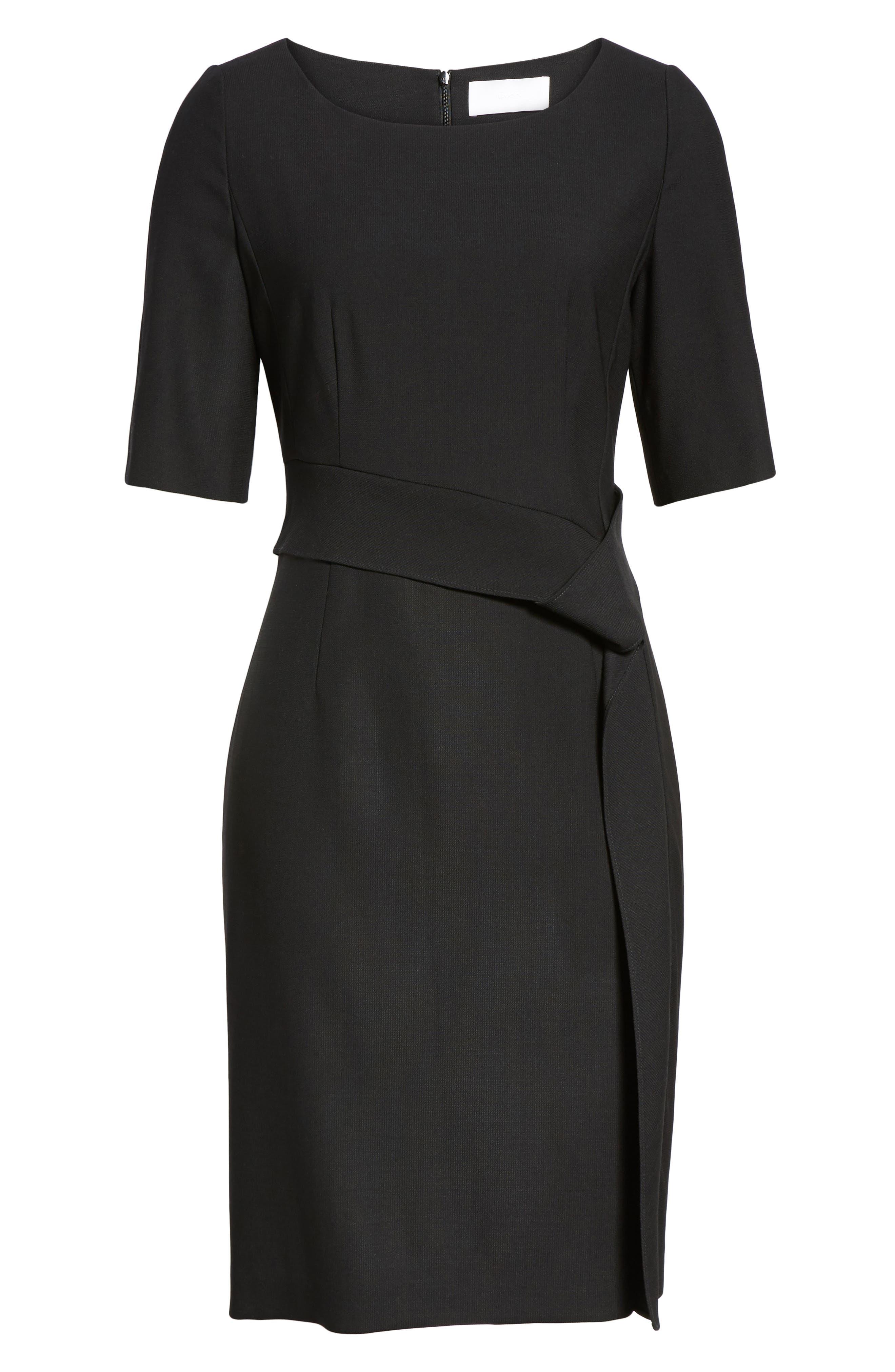 Delera Stretch Wool Sheath Dress,                             Alternate thumbnail 6, color,                             Black