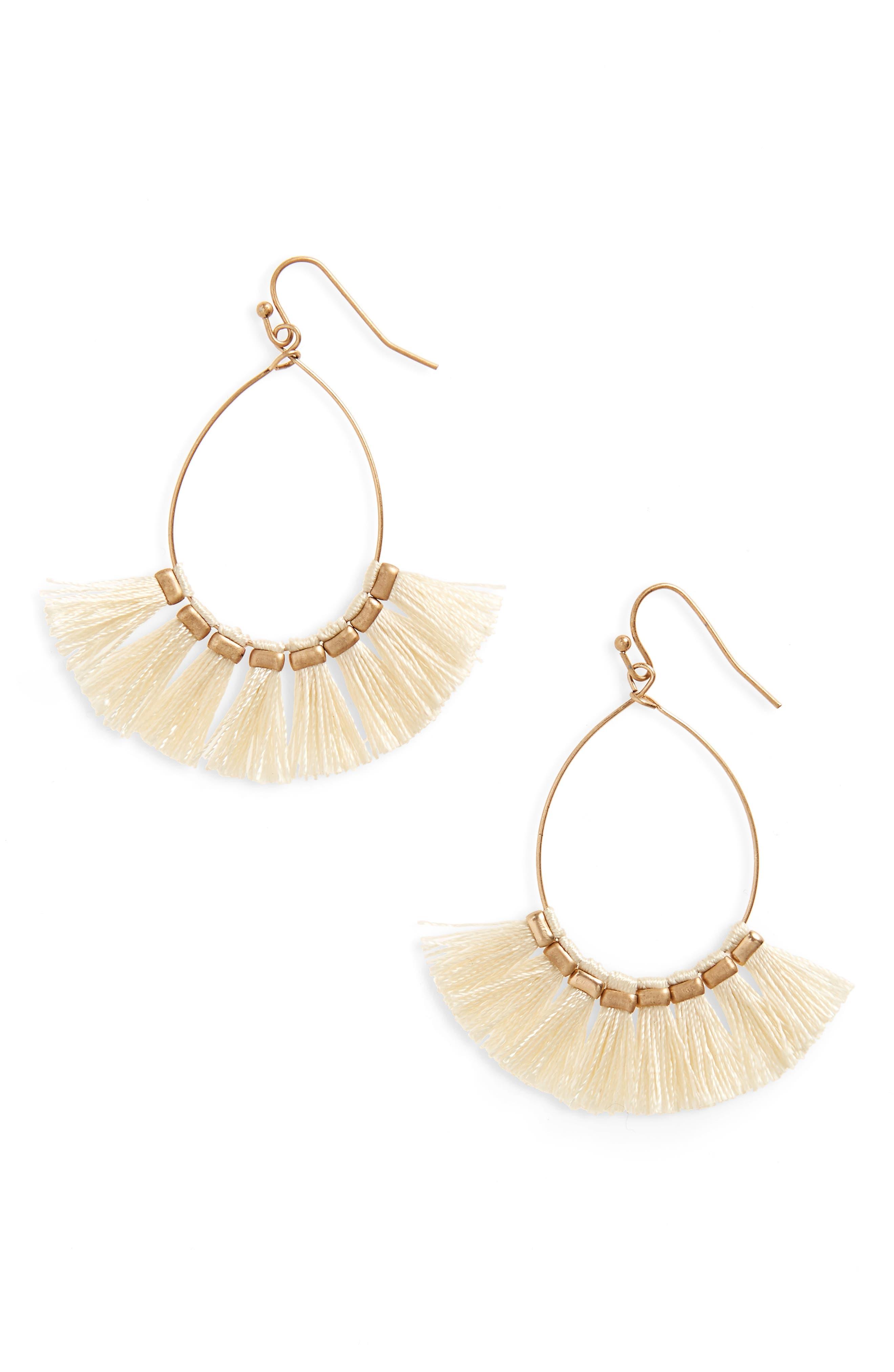 Tassel Drop Earrings,                         Main,                         color, White