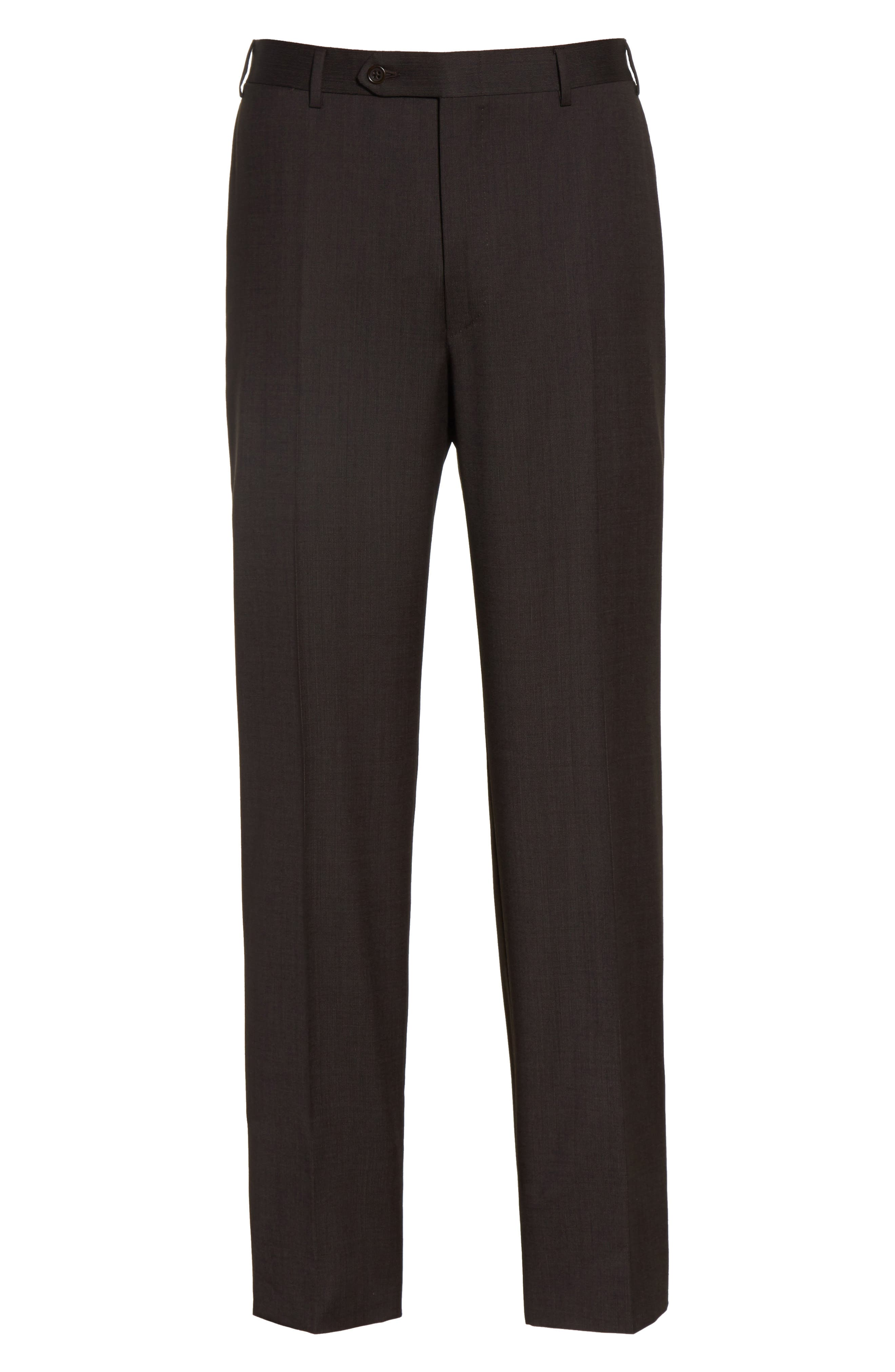 Flat Front Stripe Wool Trousers,                             Alternate thumbnail 6, color,                             Brown