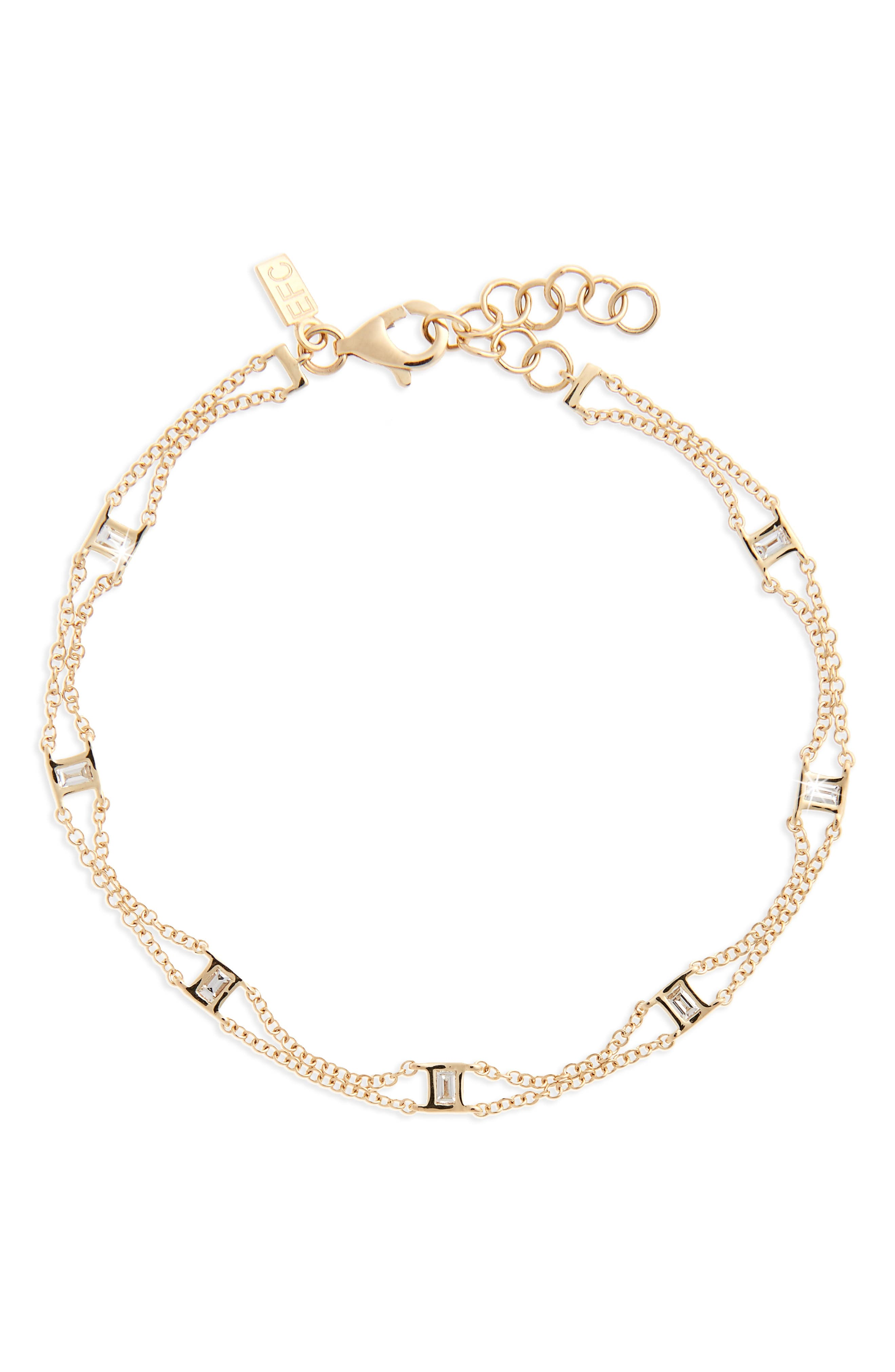 Alternate Image 1 Selected - EF COLLECTION Lucky 7 Baguette Chain Diamond Bracelet