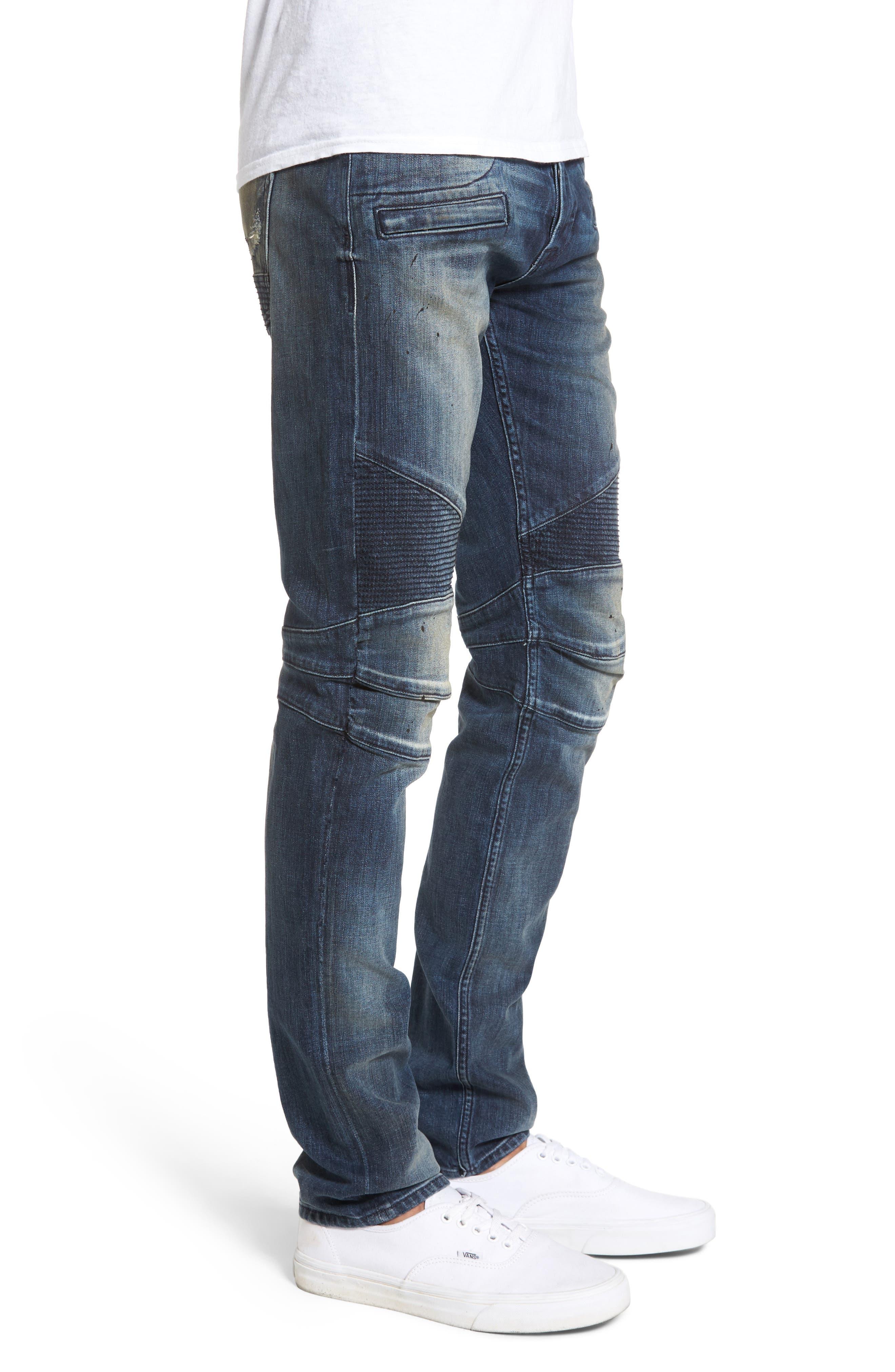 Blinder Biker Moto Skinny Fit Jeans,                             Alternate thumbnail 3, color,                             Babylon