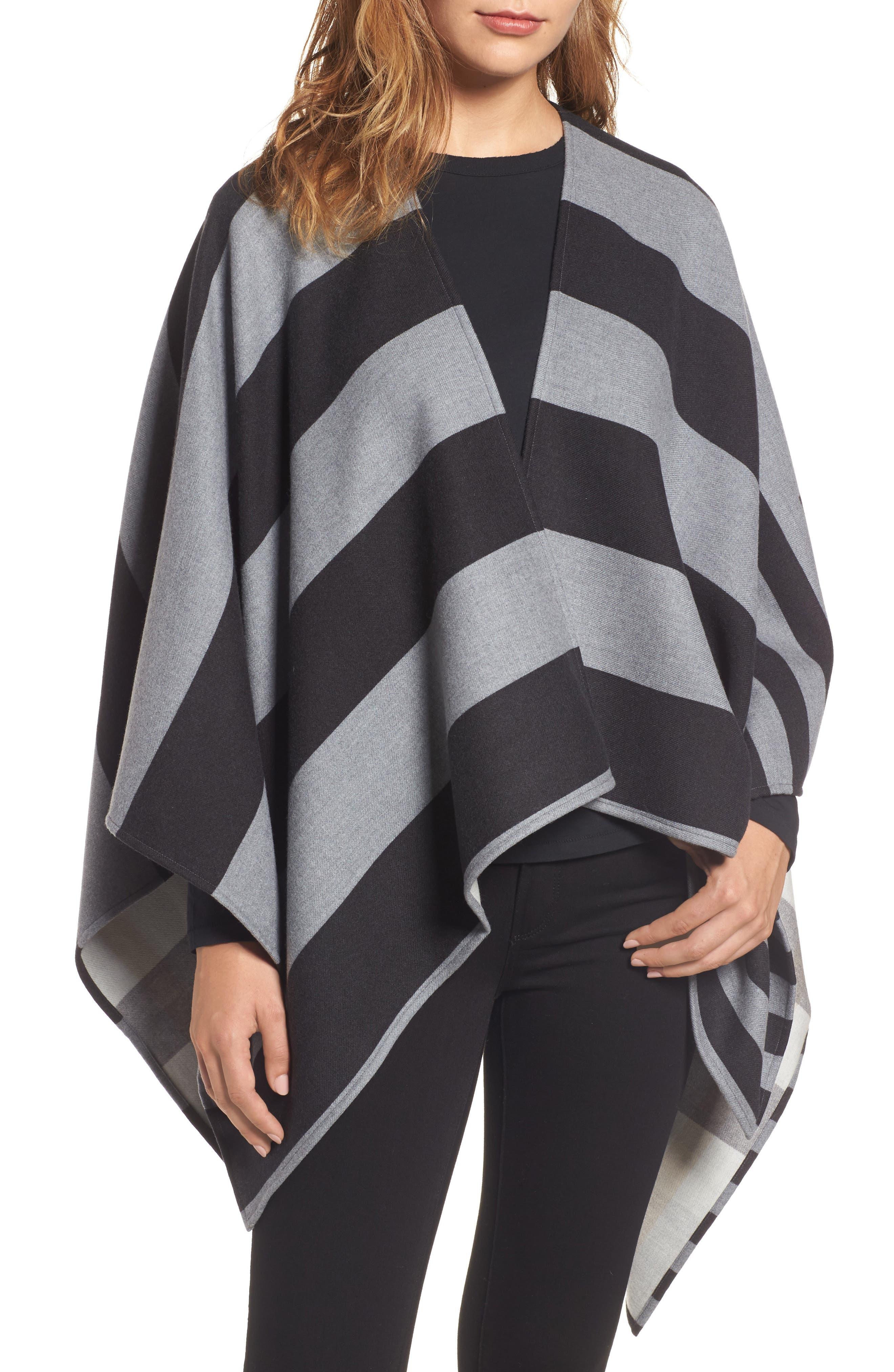 Stripe Merino Wool Poncho,                         Main,                         color, Grey