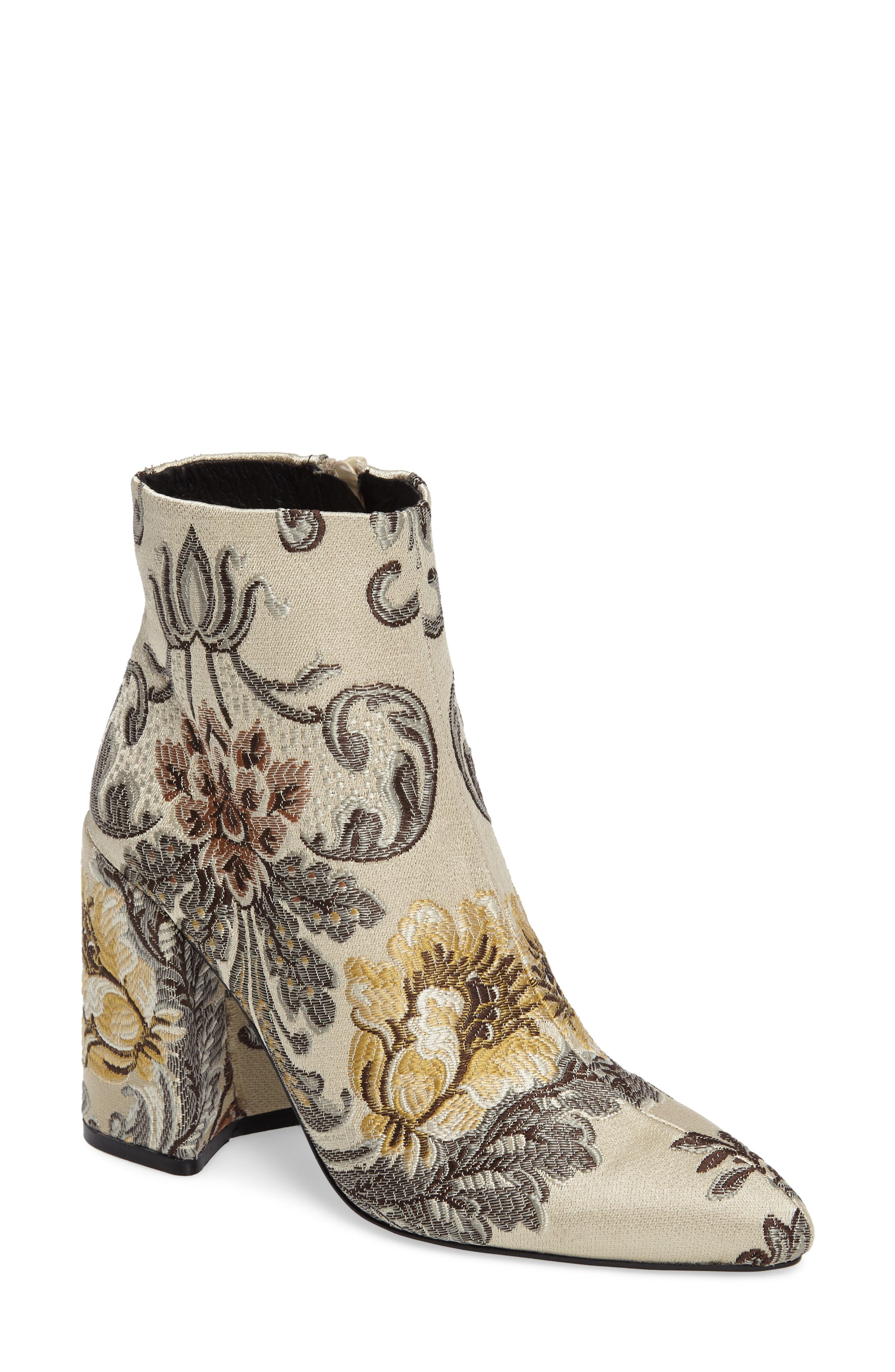 Emmy Brocade Bootie,                         Main,                         color, Beige