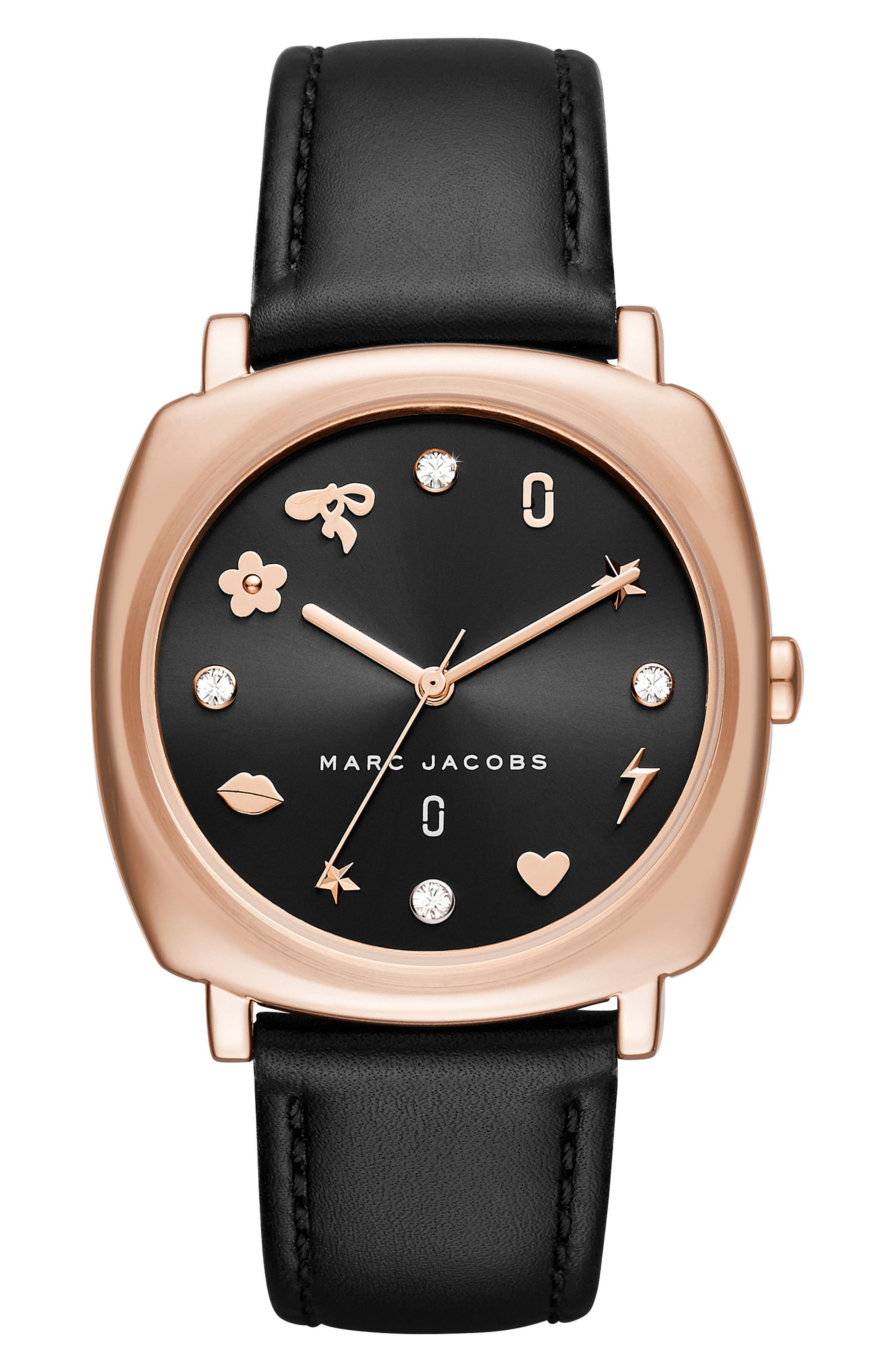 Mandy Leather Strap Watch, 34mm,                         Main,                         color, Black/ Rose Gold