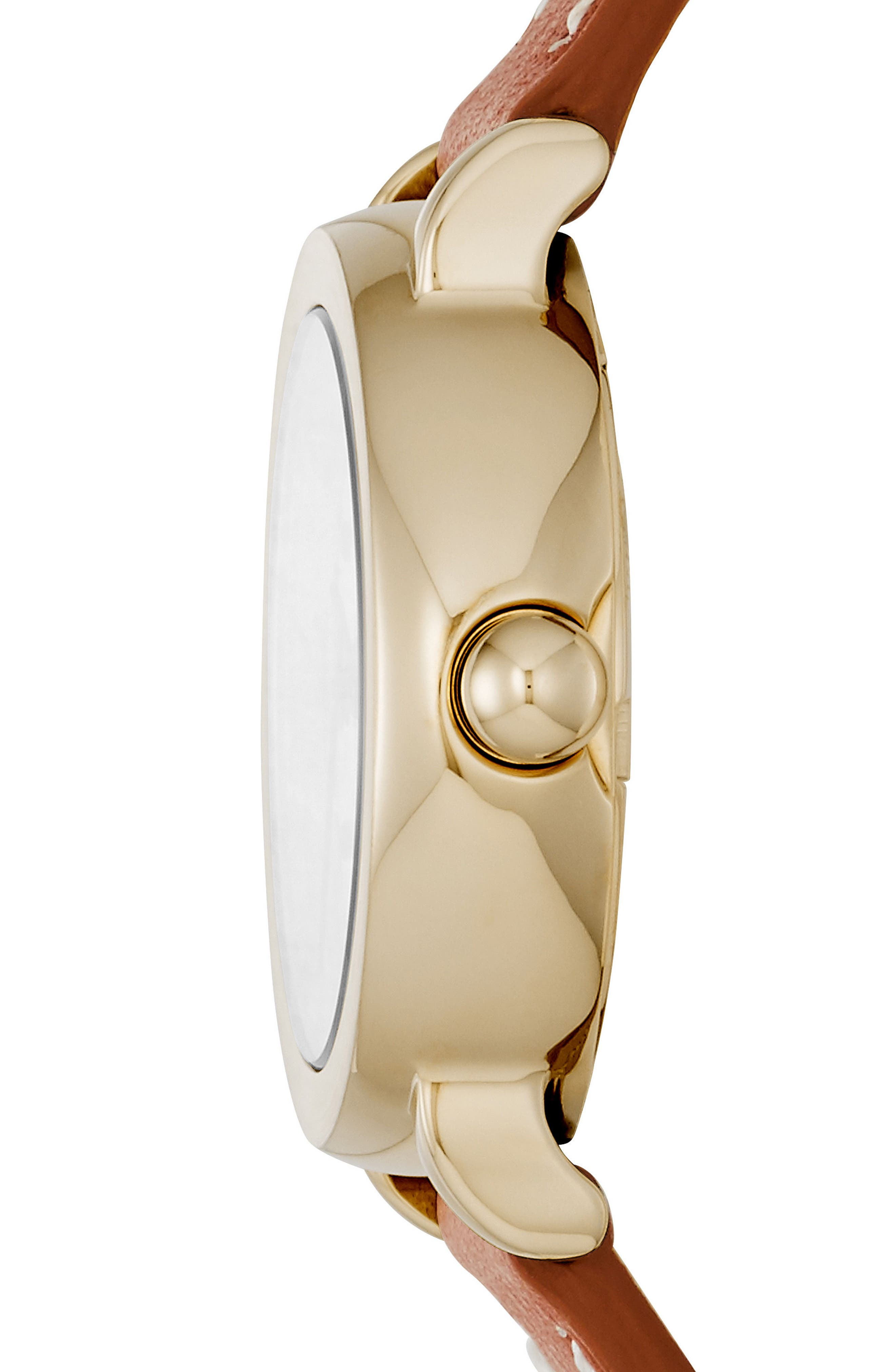 Alternate Image 2  - MARC JACOBS Round Leather Strap Watch, 28mm