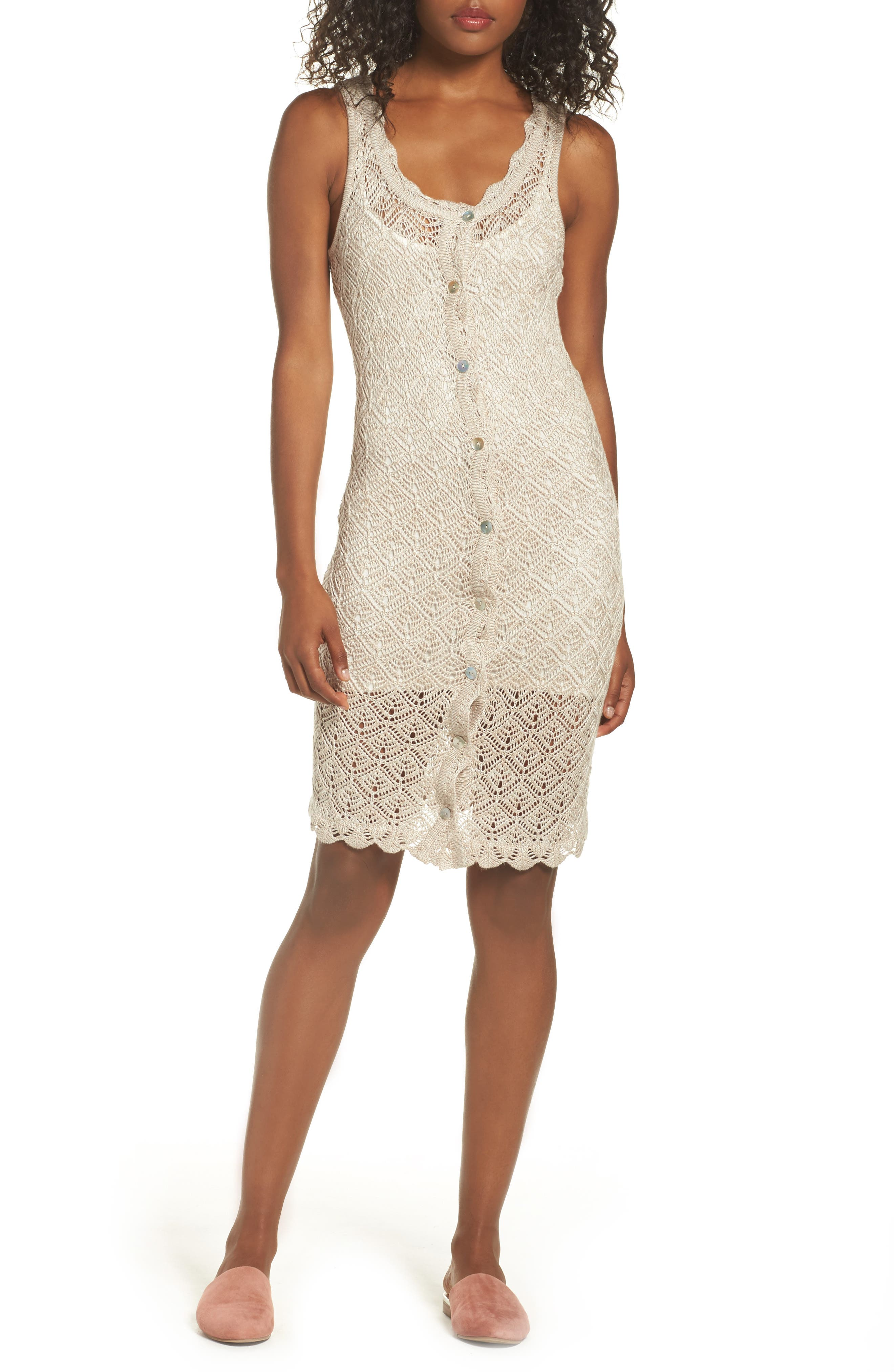 Picnic By The Lagoon Lace Dress,                         Main,                         color, Sand
