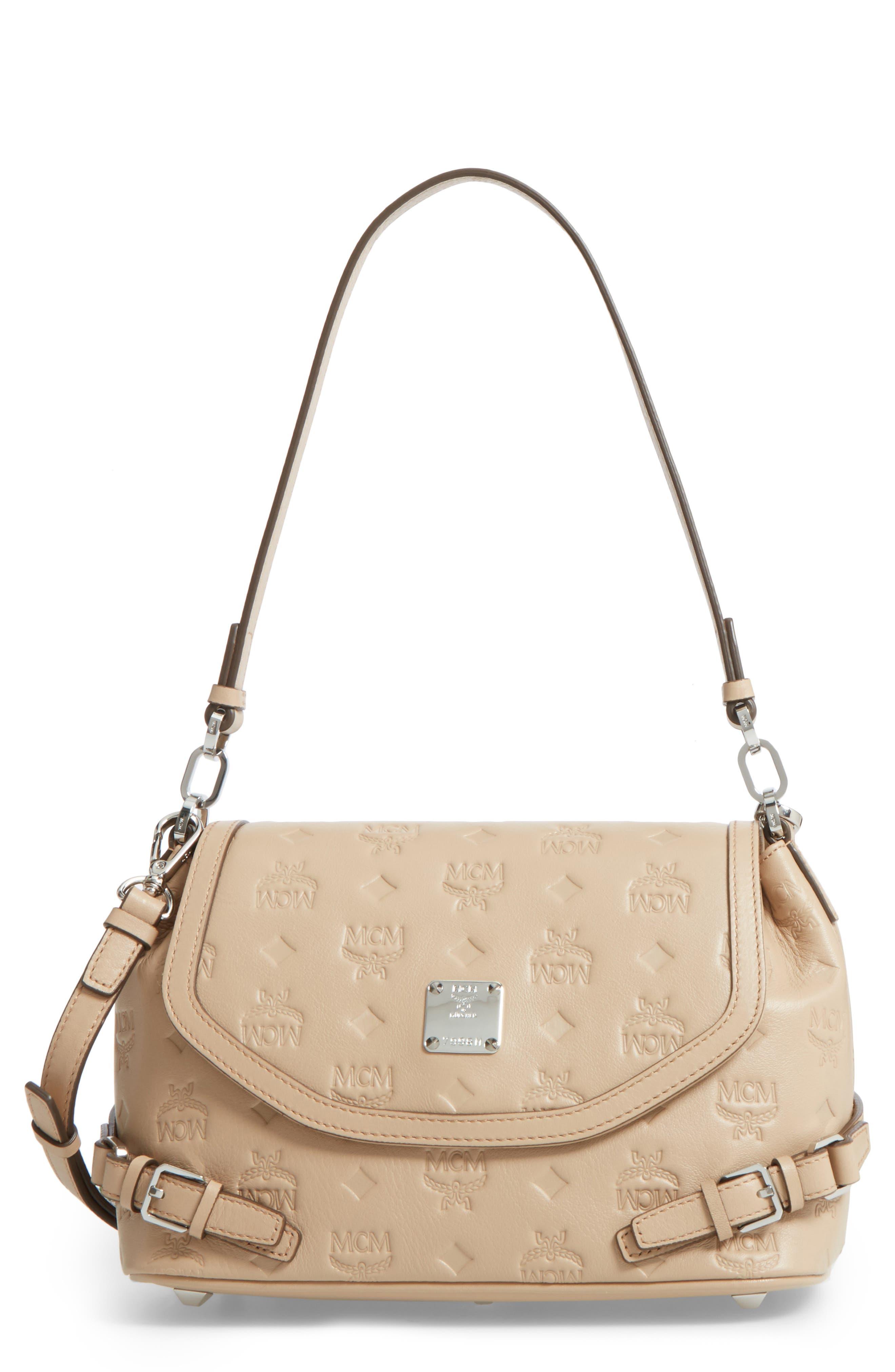 MCM Signature Monogram Embossed Leather Shoulder/Crossbody Bag
