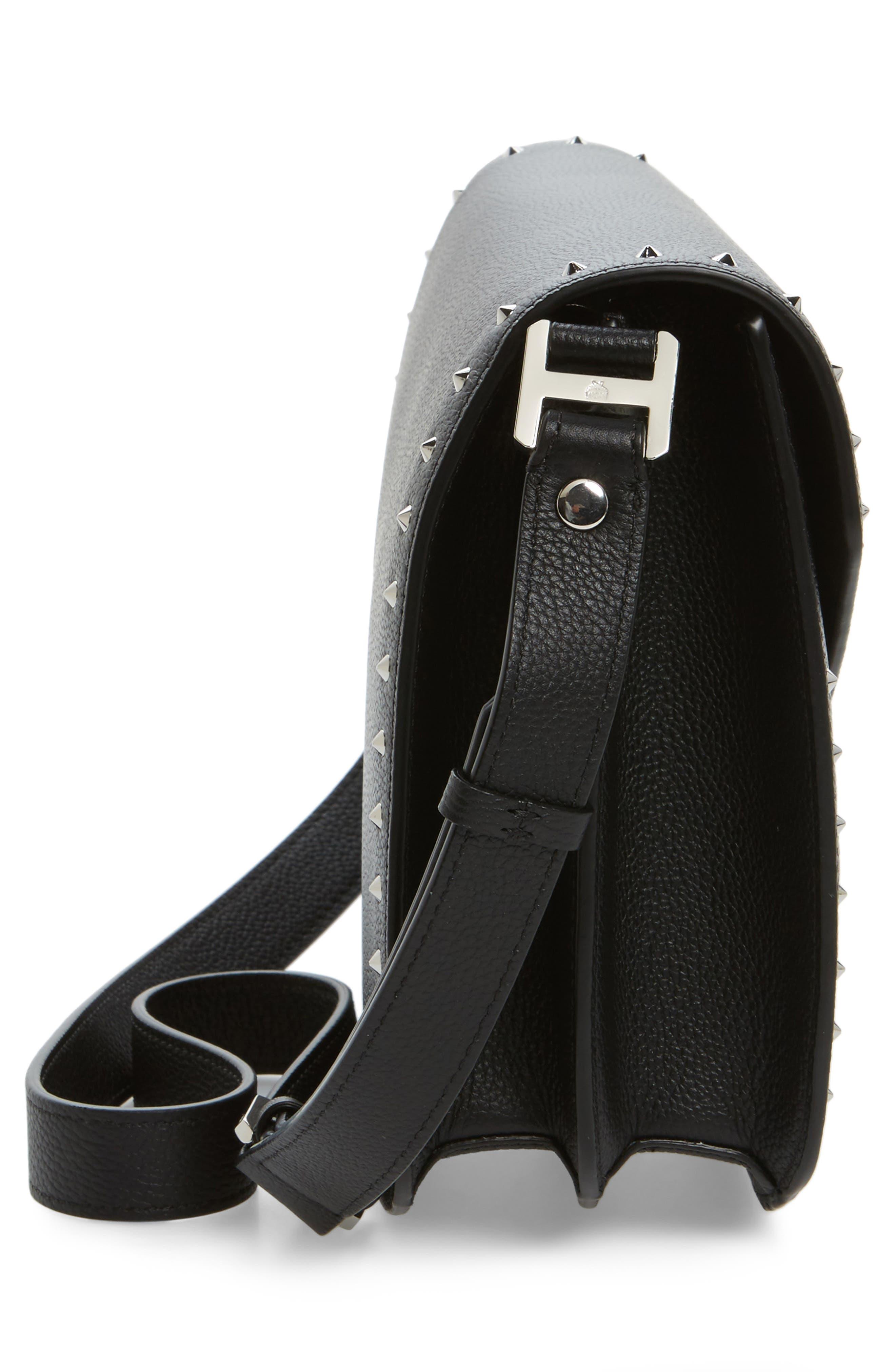 Patricia Studded Outline Leather Shoulder Bag,                             Alternate thumbnail 4, color,                             Black