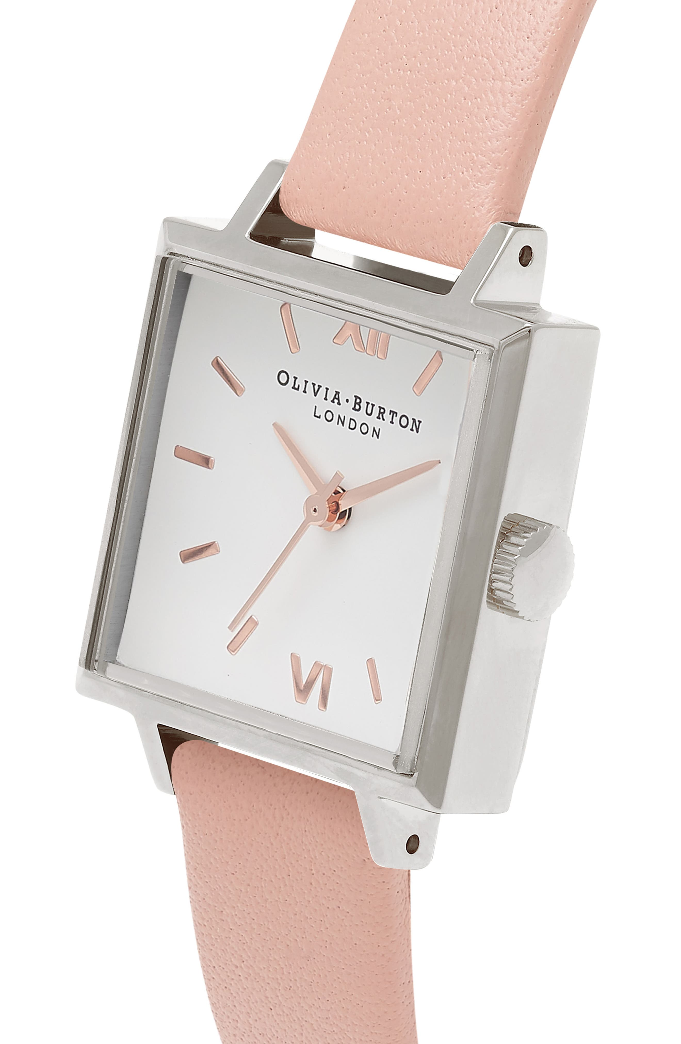 Alternate Image 3  - Olivia Burton Square Leather Strap Watch, 23mm