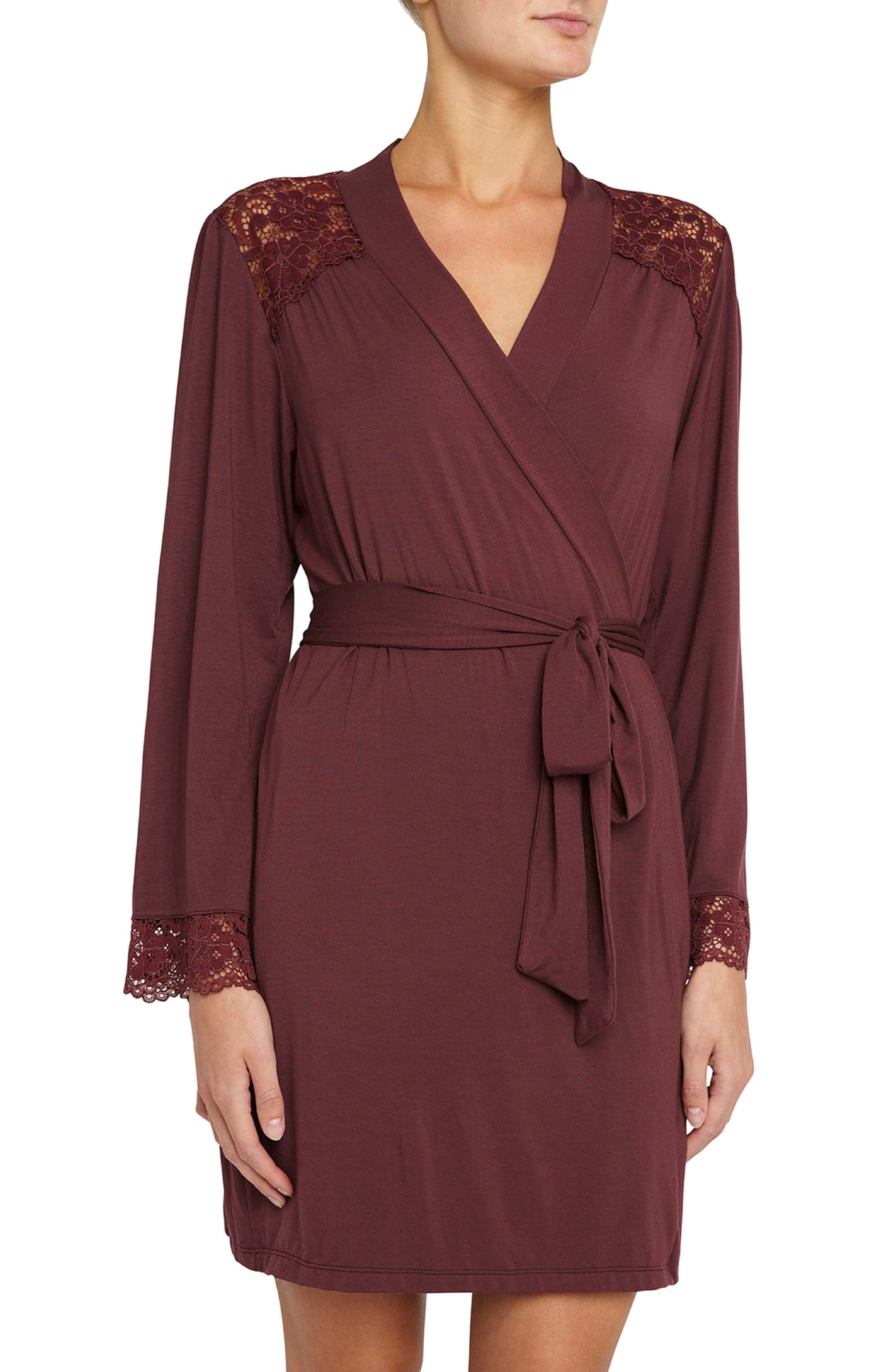 Main Image - Eberjey Vineland Wine Lila Short Robe