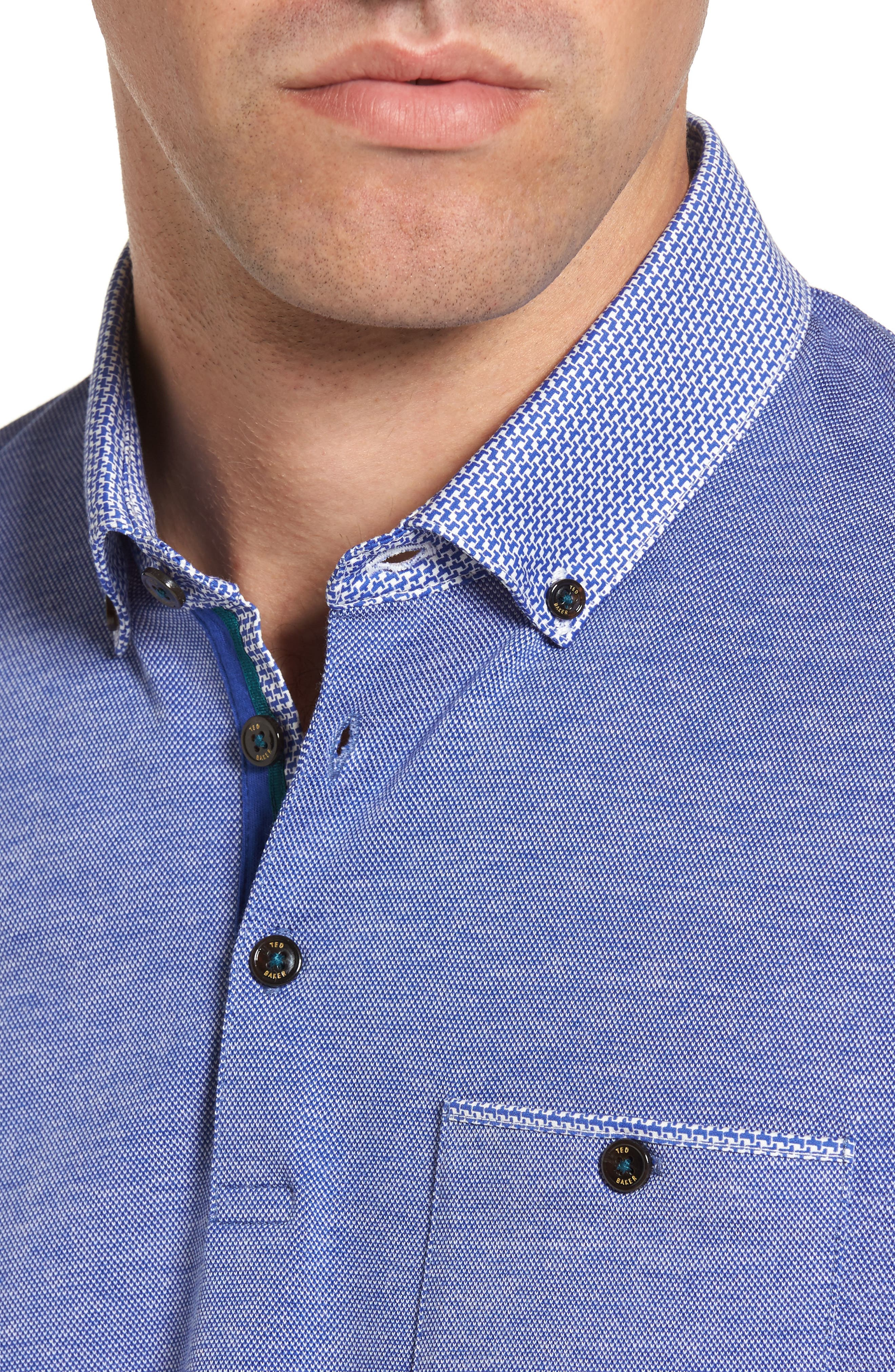 Leeds Oxford Modern Slim Fit Polo,                             Alternate thumbnail 4, color,                             Blue