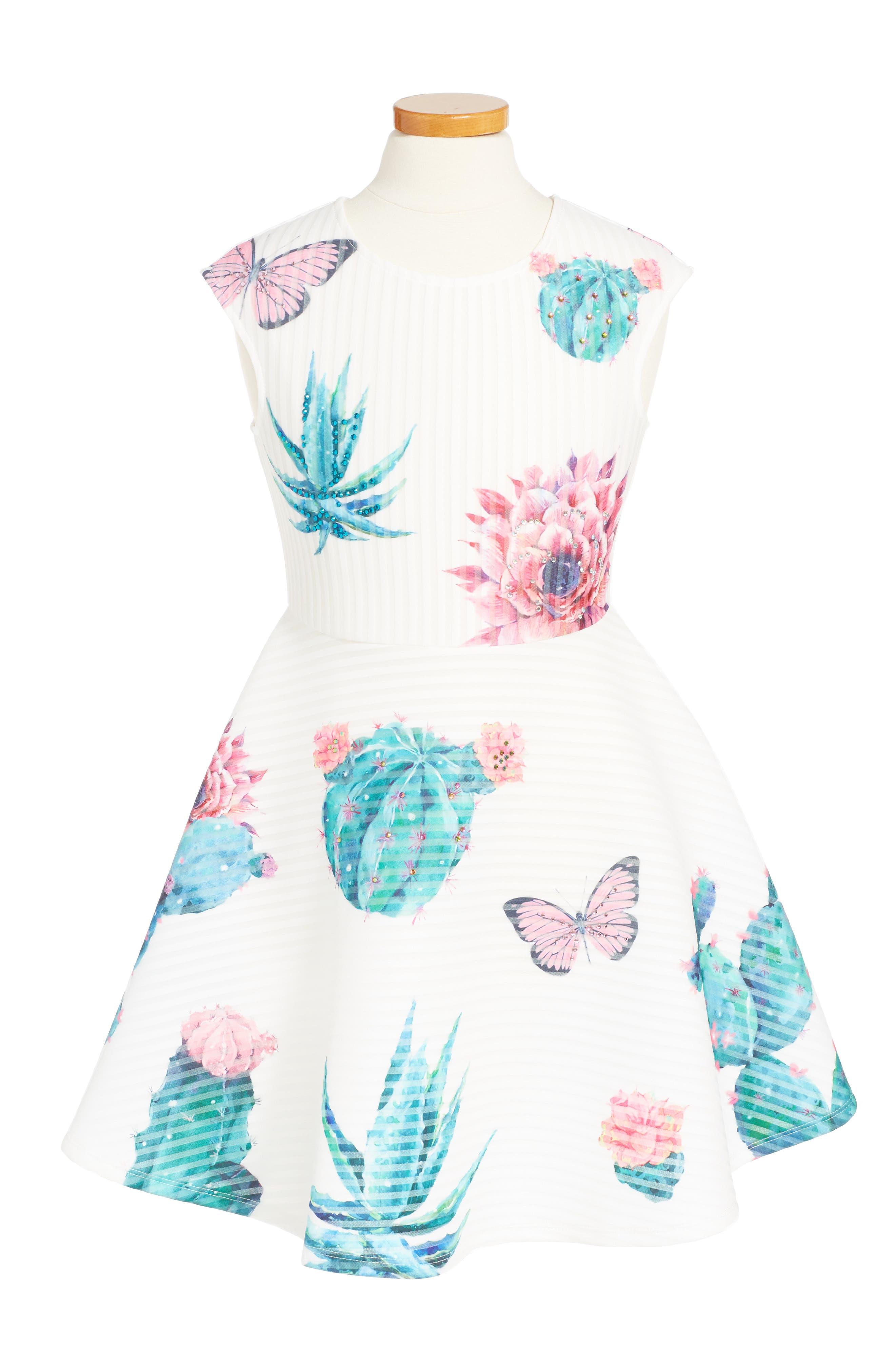 Succulents Skater Dress,                         Main,                         color, White Multi