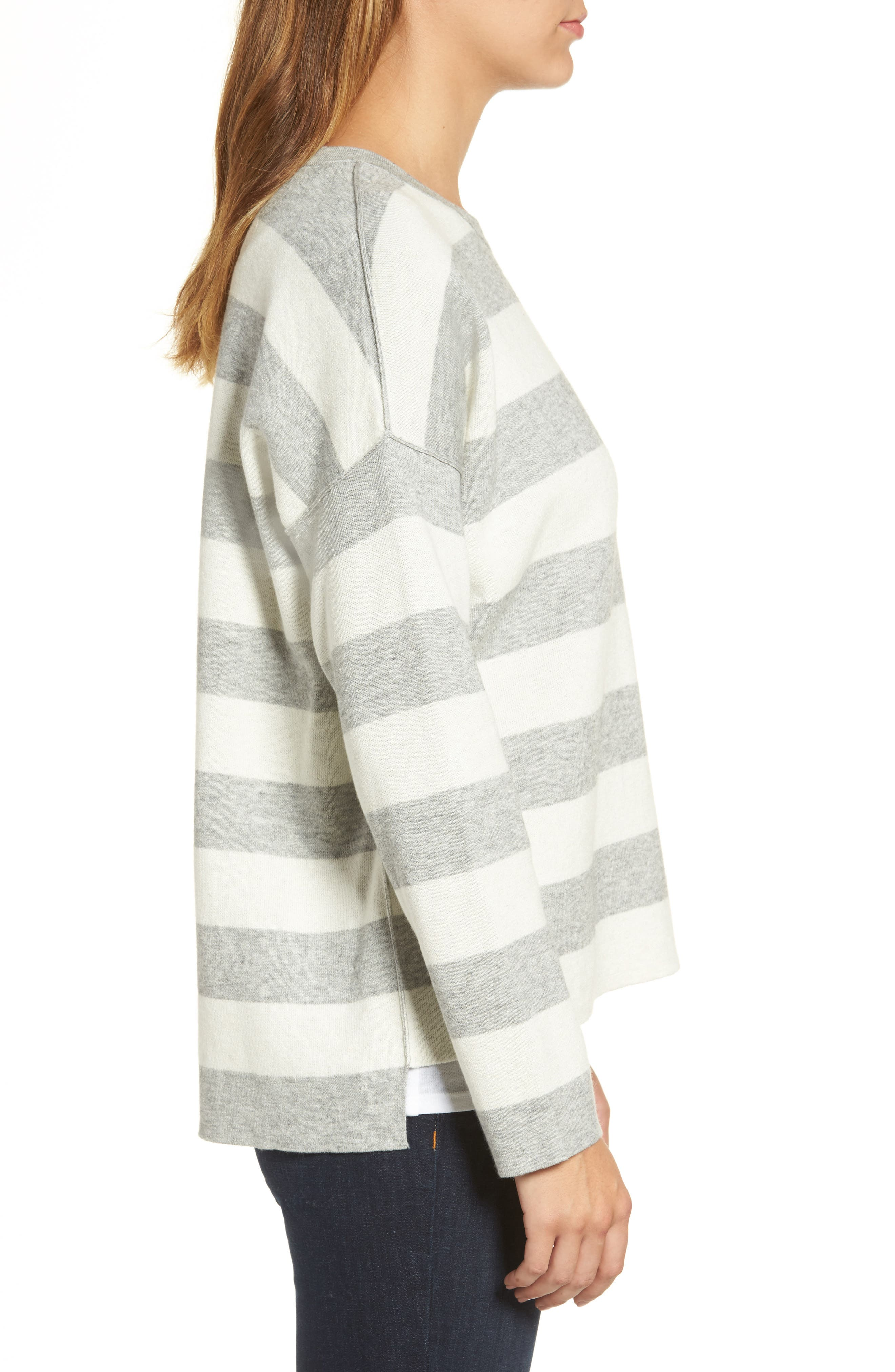Stripe Organic Cotton Blend Top,                             Alternate thumbnail 3, color,                             Dark Pearl/ Soft White