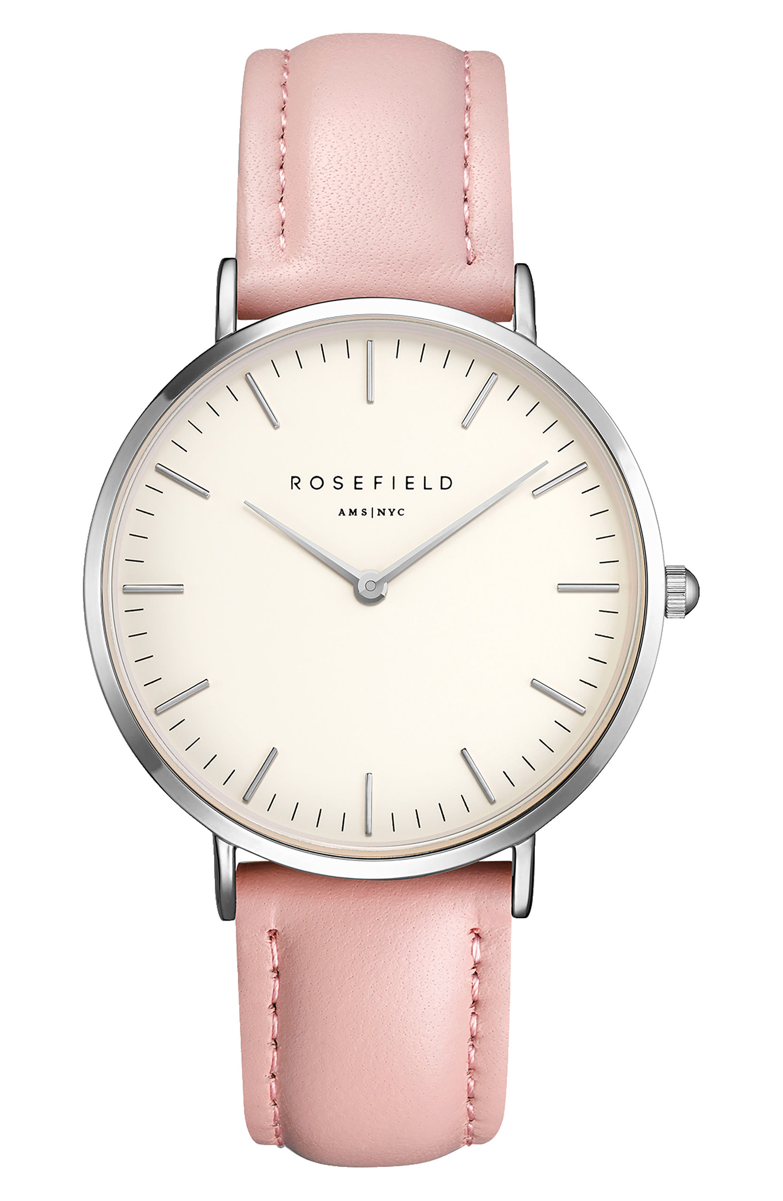 Bowery Leather Strap Watch, 38mm,                             Main thumbnail 1, color,                             Pink/ White/ Silver