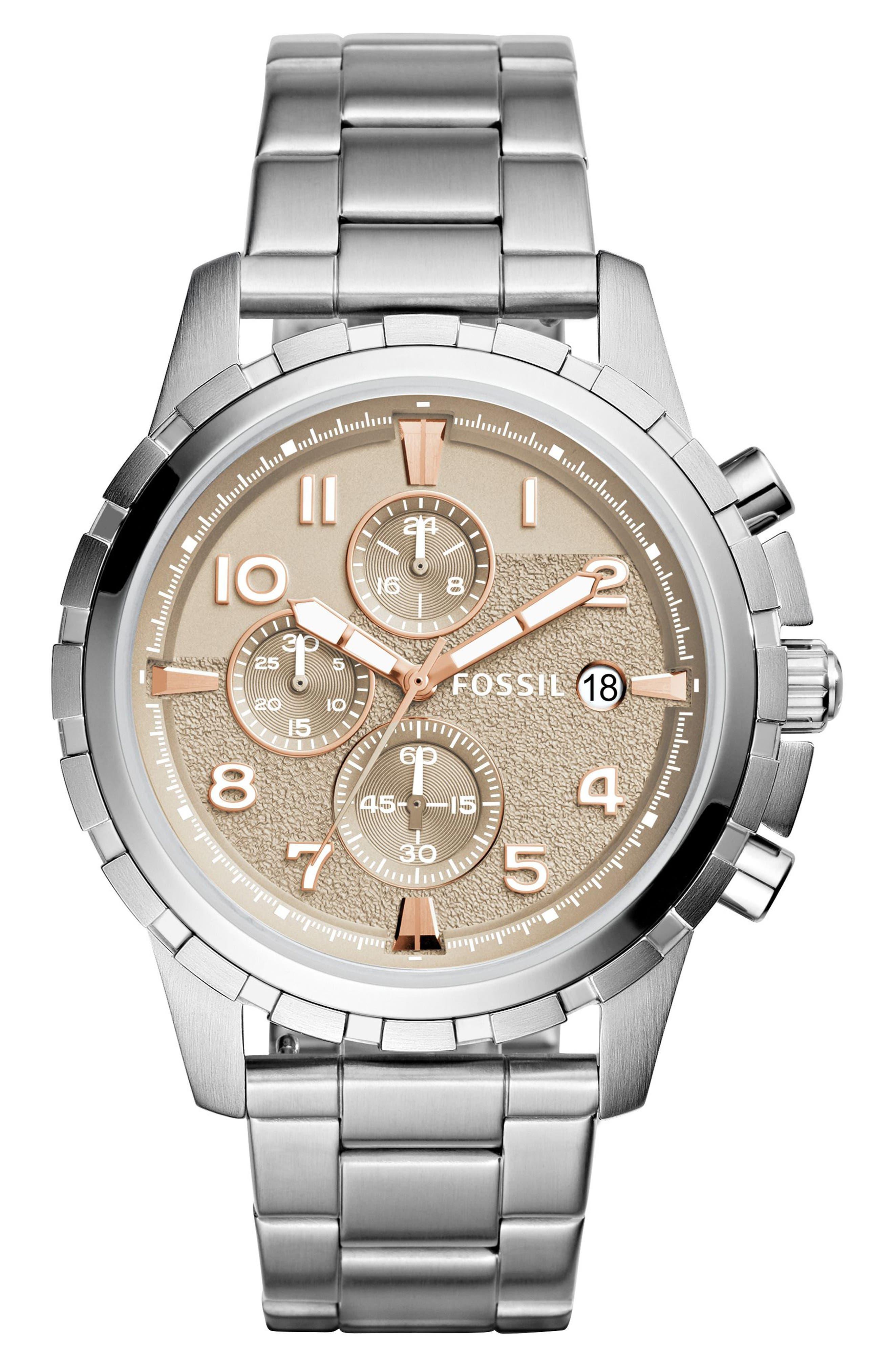 Fossil Dean Chrongraph Bracelet Watch, 45mm