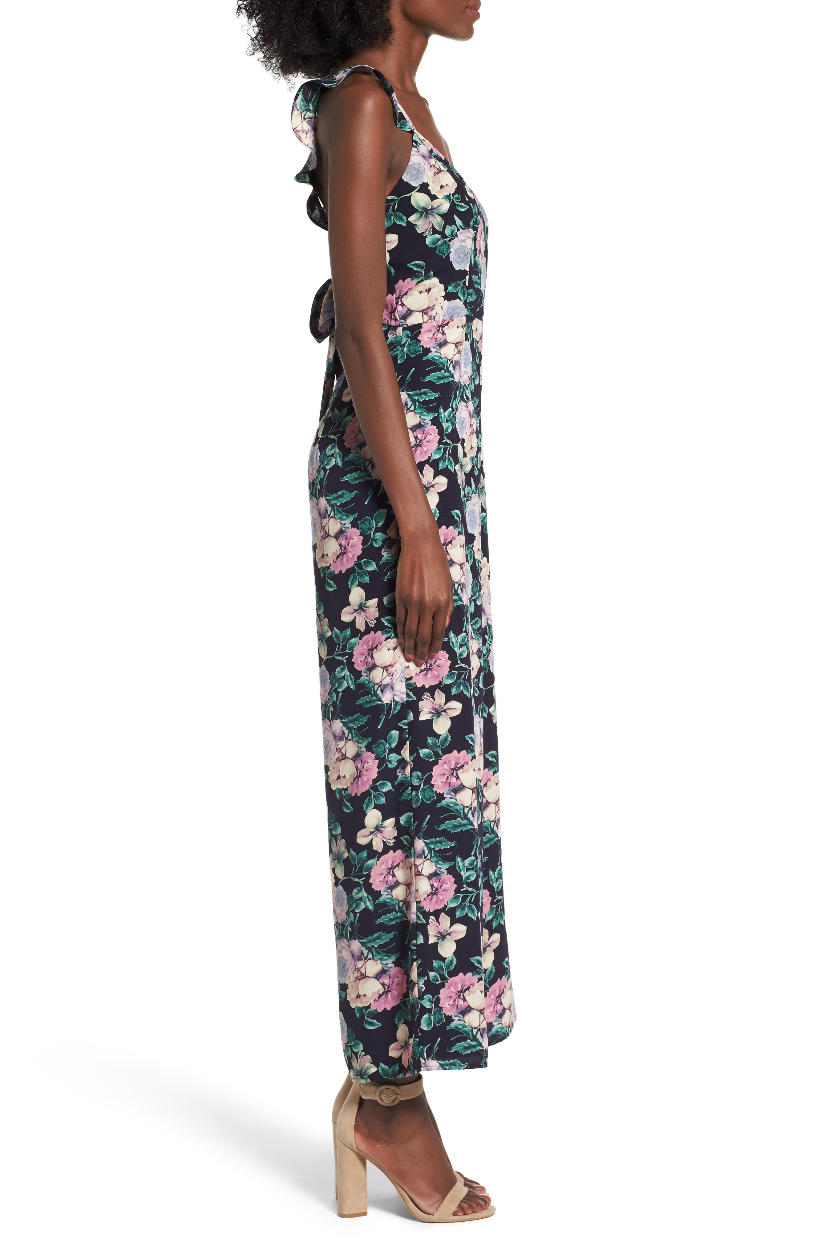 Ruffle Strap Jumpsuit,                             Alternate thumbnail 3, color,                             Navy Medieval Pretty Floral