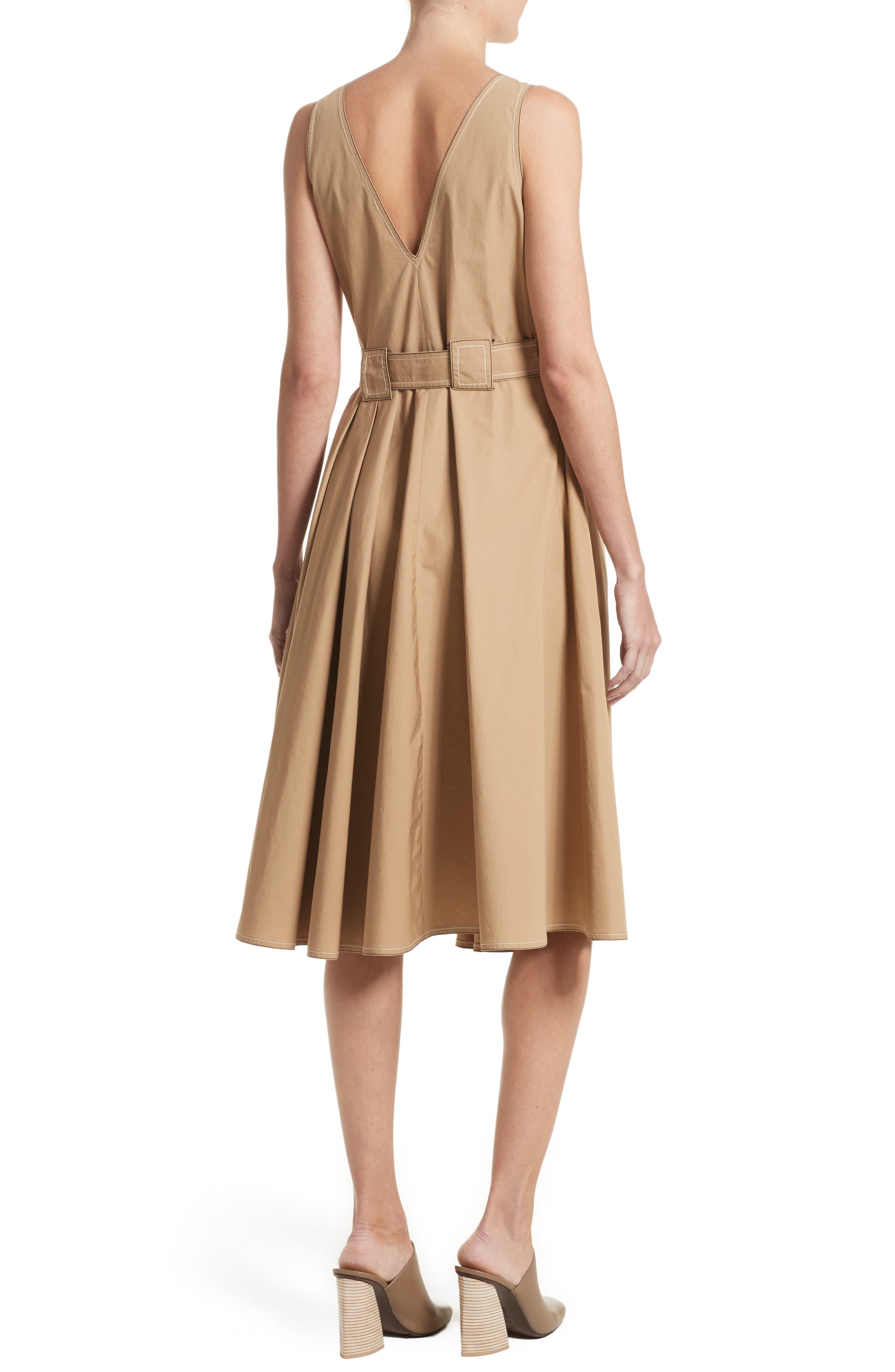 Pleated Wrap Dress,                             Alternate thumbnail 2, color,                             Camel