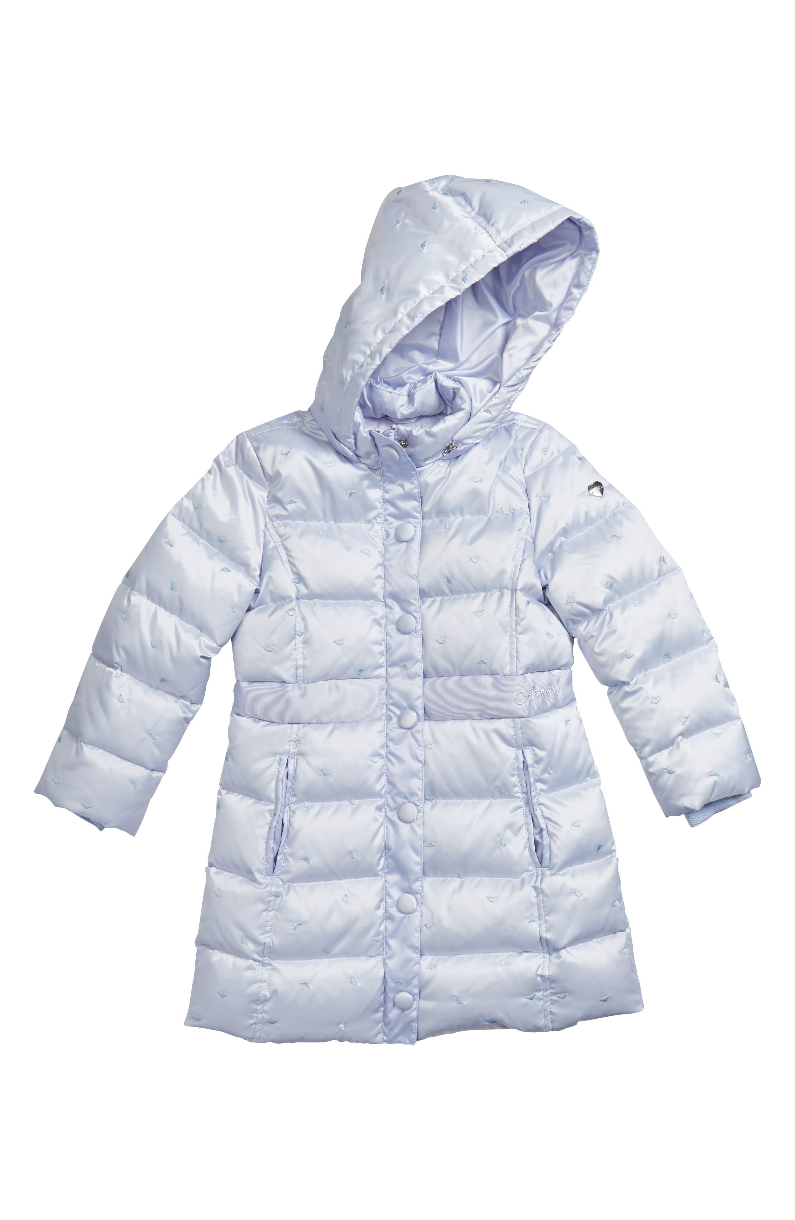 Main Image - Armani Junior Embroidered Logo Down Puffer Jacket (Little Girls & Big Girls)