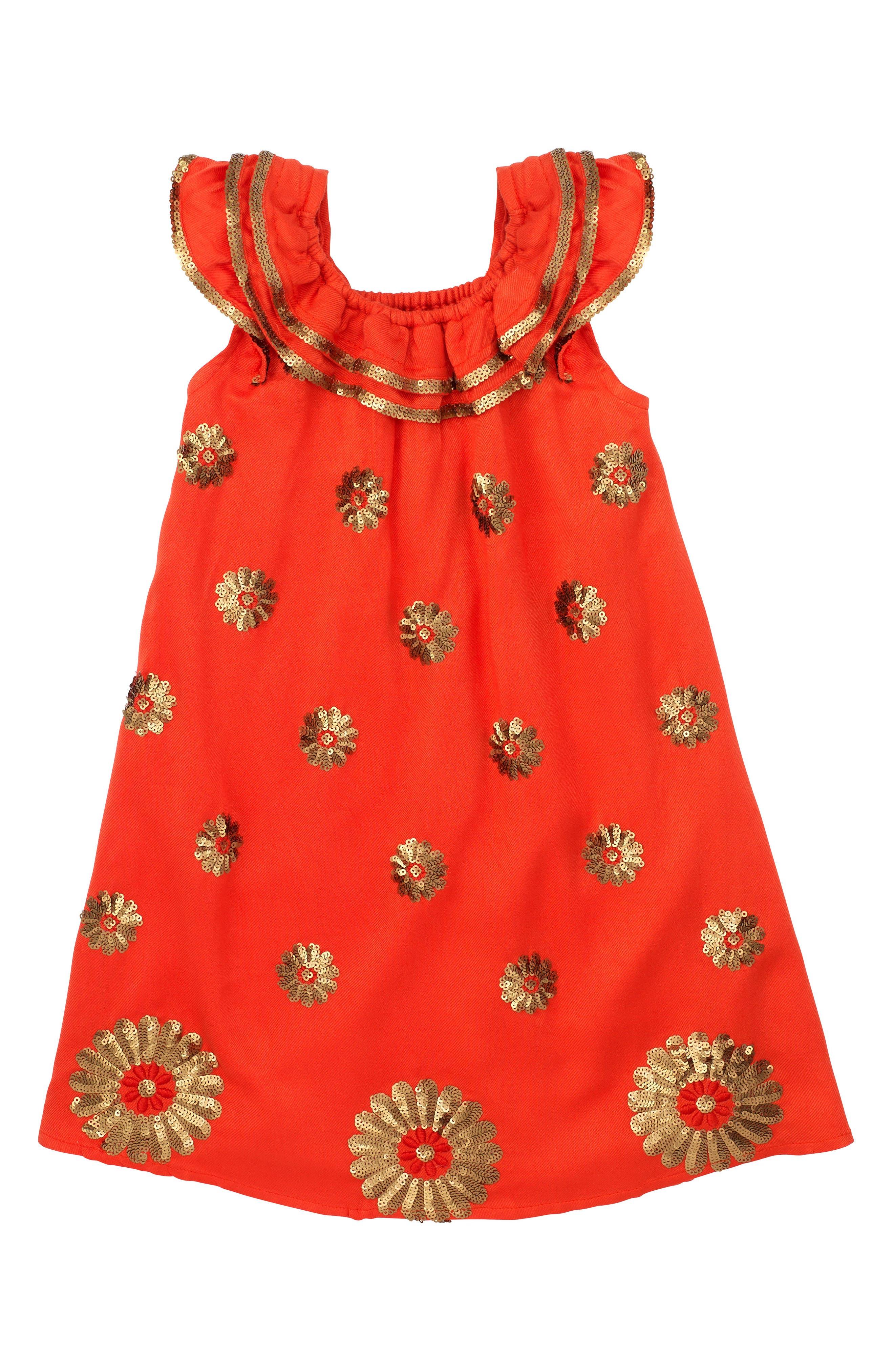Dahlia Flutter Sleeve Dress,                             Main thumbnail 1, color,                             Coral