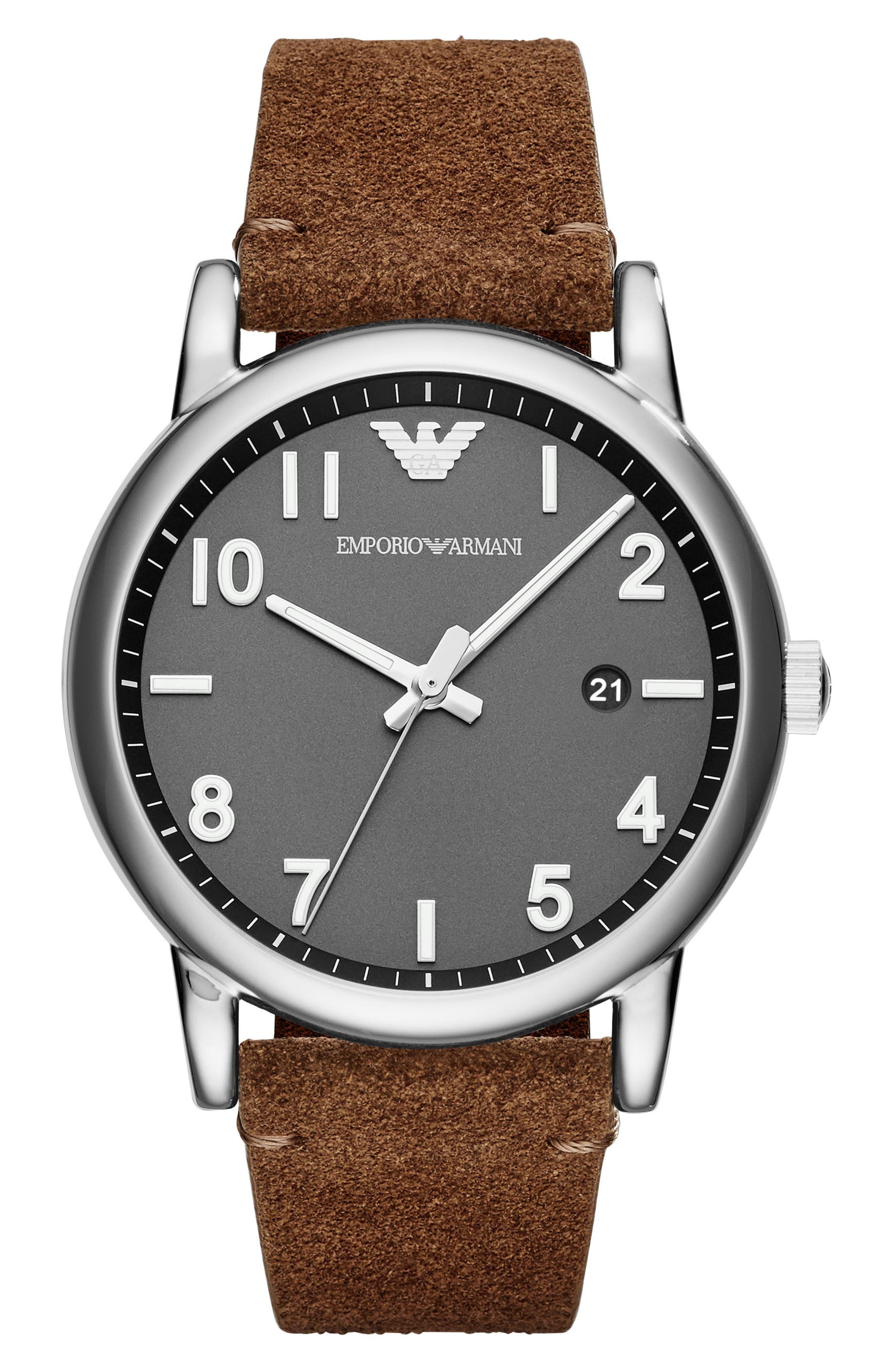 Suede Strap Watch, 43mm,                         Main,                         color, Grey/ Brown