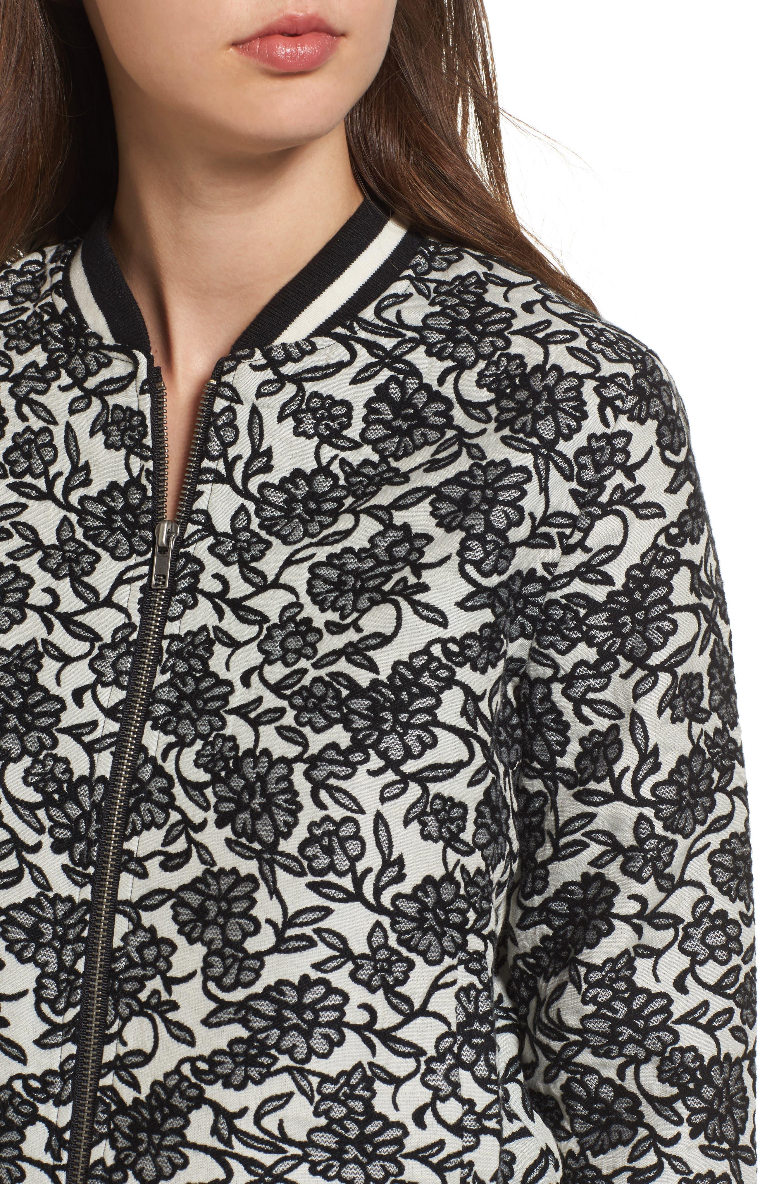 Addie Floral Brocade Bomber Jacket,                             Alternate thumbnail 4, color,                             Black
