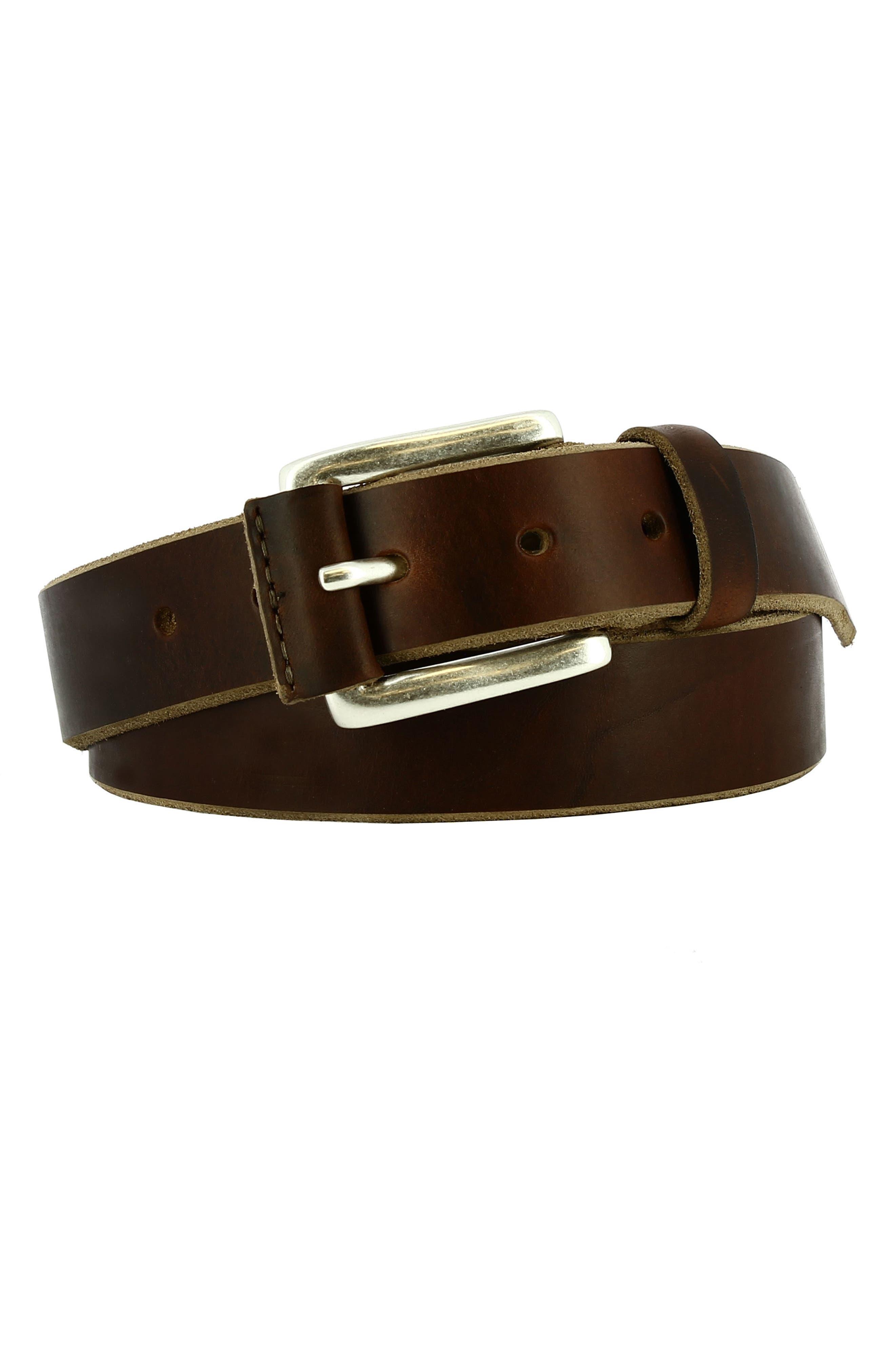 Coraggio Leather Belt,                         Main,                         color, Bourbon