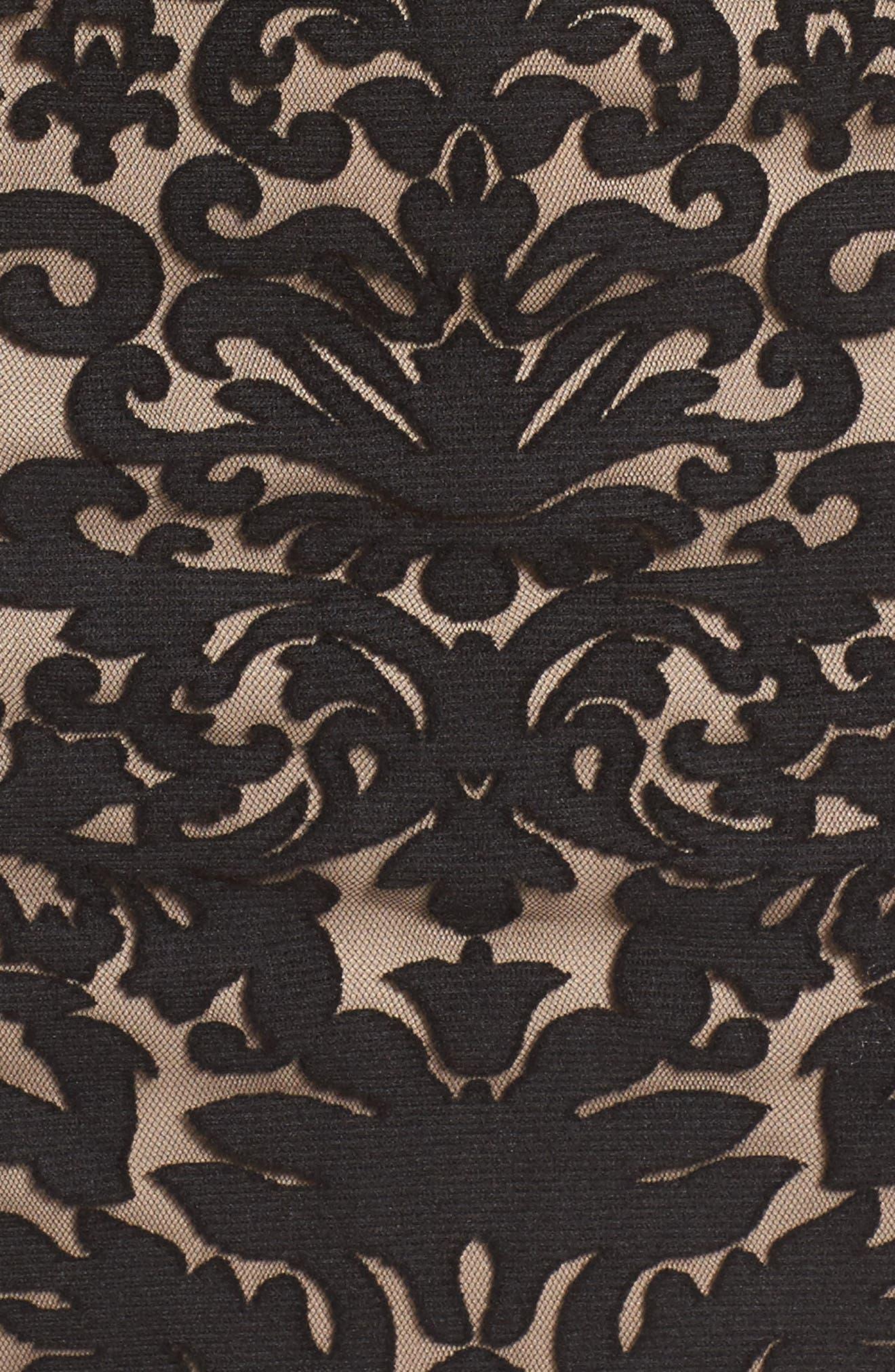 Flocked Cold Shoulder Sheath Dress,                             Alternate thumbnail 5, color,                             Black/ Nude