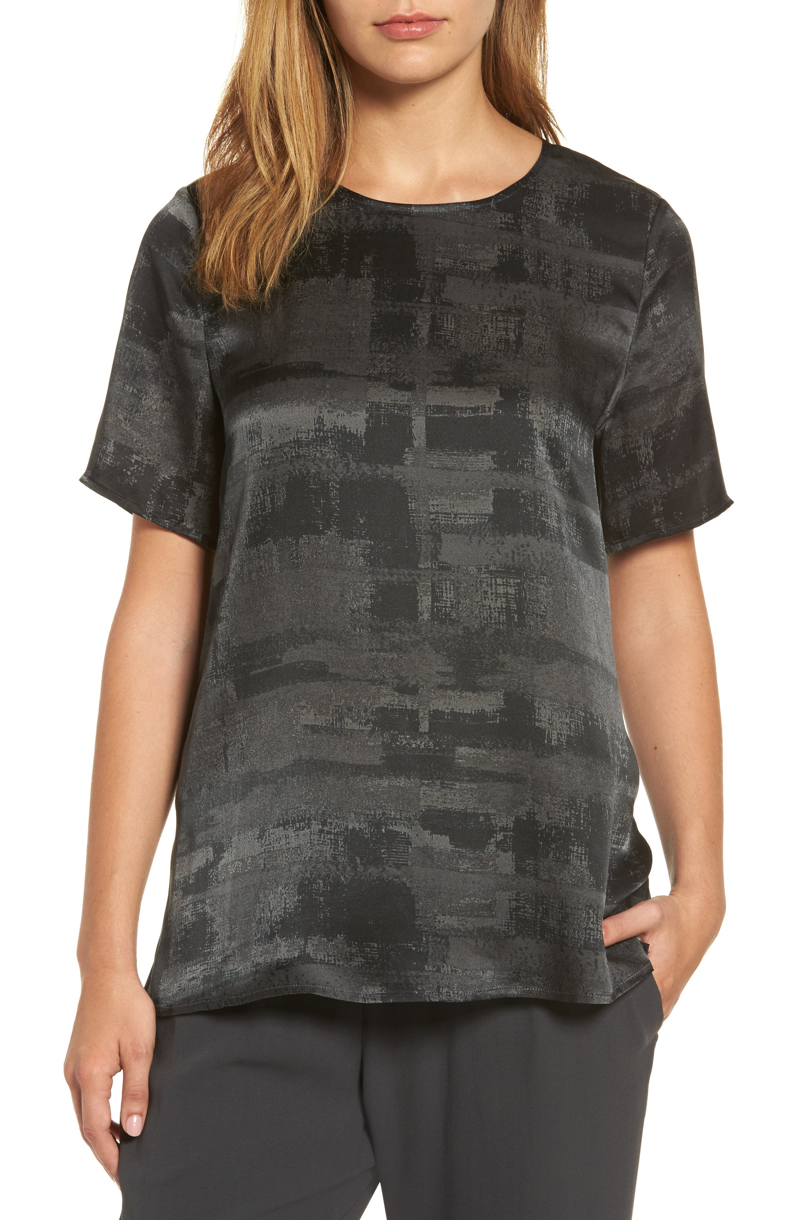 Alternate Image 1 Selected - Eileen Fisher Print Silk Top